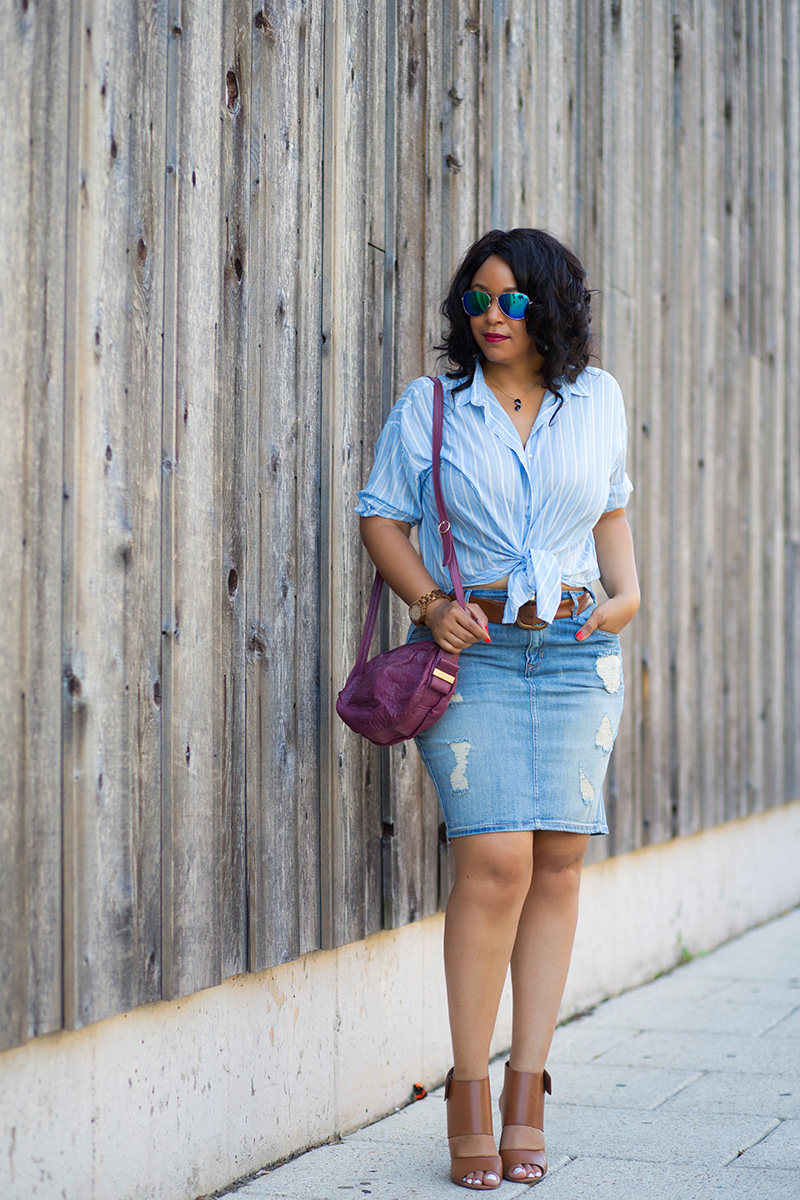 What I'm Wearing: 12 Ways to Wear Denim: Distressed Denim Skirts, Iridescent Aviator Sunglasses, JORDWatch Fieldcrest series watch in Zebrawood & Maple, Sunglass Pendant Necklace, Blue & White Striped Chambray Blouse, Distressed High Waist Denim Pencil Skirt, See By Chloé Lifou Perforated Leather Crossbody Bag, Circus by Sam Edelman Nellie Heels