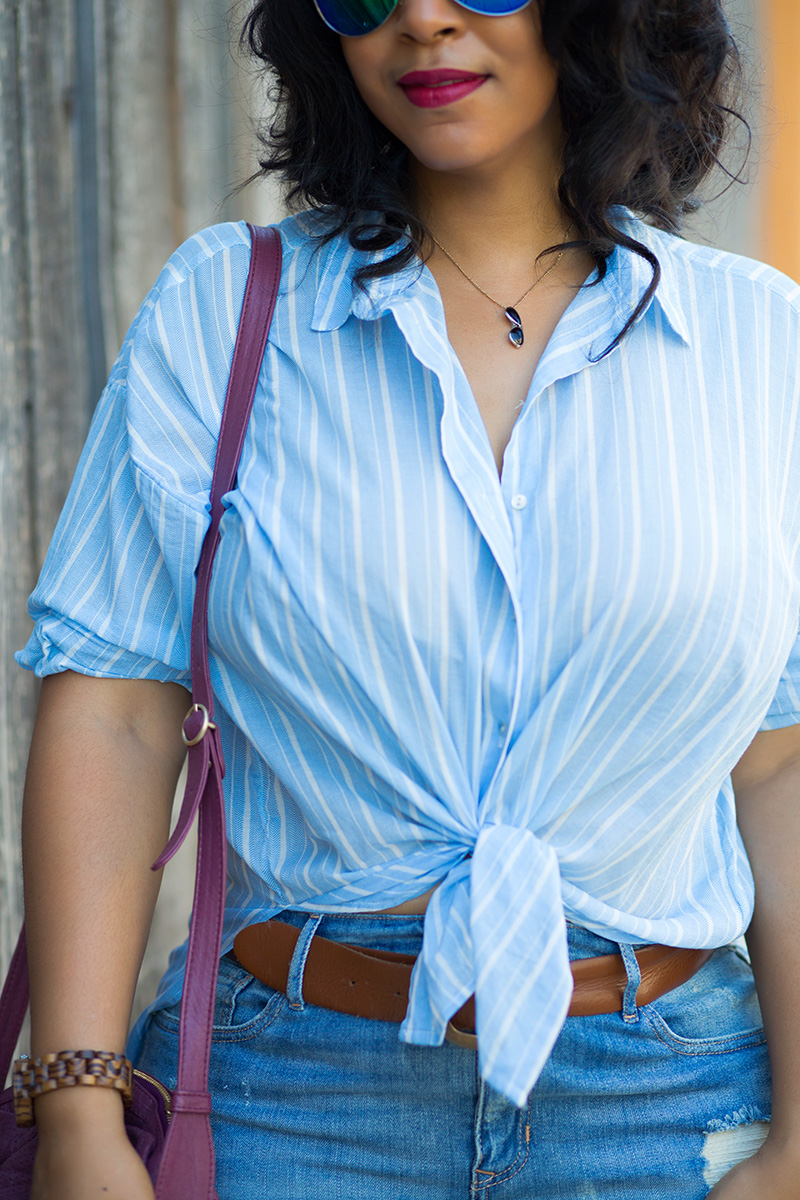 What I'm Wearing: 12 Ways to Wear Denim: Distressed Denim Skirts, Iridescent Aviator Sunglasses, Sunglass Pendant Necklace, Blue & White Striped Chambray Blouse, Distressed High Waist Denim Pencil Skirt, See By Chloé Lifou Perforated Leather Crossbody Bag, Circus by Sam Edelman Nellie Heels