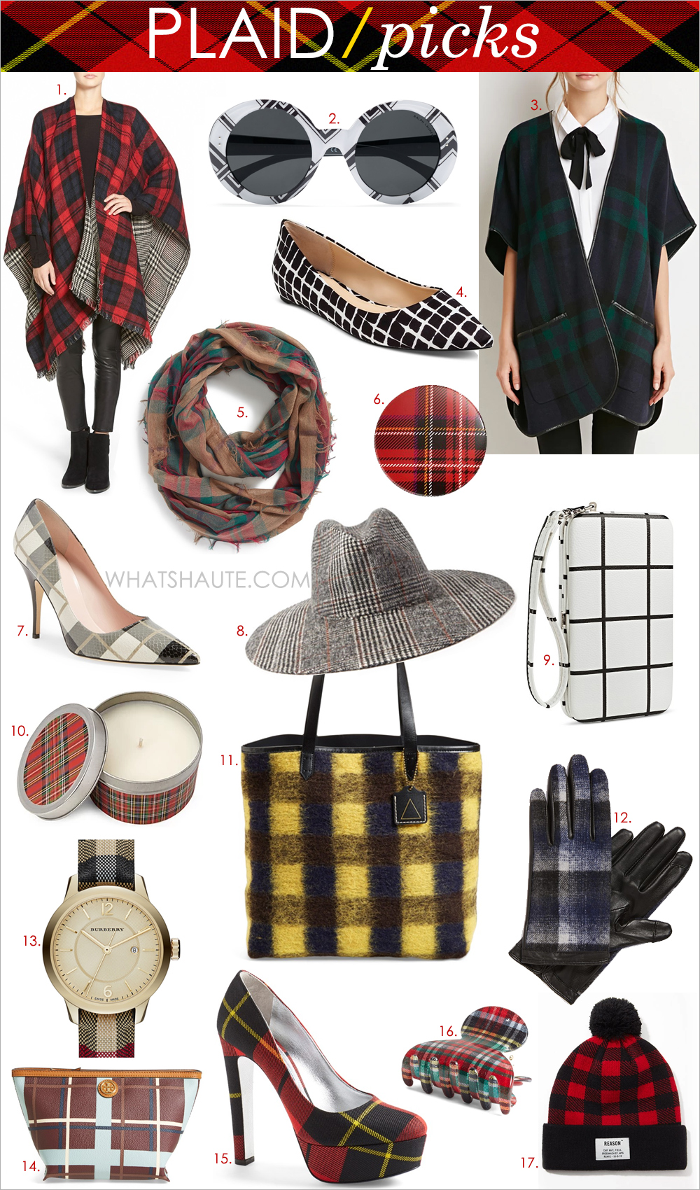 "MODENA 'Double Plaid' Reversible Ruana, BP. Plaid Infinity Scarf, Kelsi Dagger Brooklyn 'Commuter' Plaid Flannel Tote, Ralph Lauren Round Pinstriped Sunglasses, Halogen® Plaid Tech Gloves, Tory Burch 'Kerrington' Cosmetics Case, France Luxe 'Mini Couture' Plaid Jaw Clip, Burberry Check Stamped Leather Strap Watch, 32mm, kate spade new york 'licorice too' pump, Prada Tartan Pump, Scented Plaid Candle, Reason Plaid Pom Beanie, Tartan Plaid Poncho, Wide-Brim Plaid Fedora, Merona™® Phone Case Wallet Black/White, Adam Lippes for Target Pointed Ballet Flat - Black & White Plaid, Plaid, ""Rad"", Smiley Face, ""I Recycle Boys"" & ""I Love LA"" Pin Set"