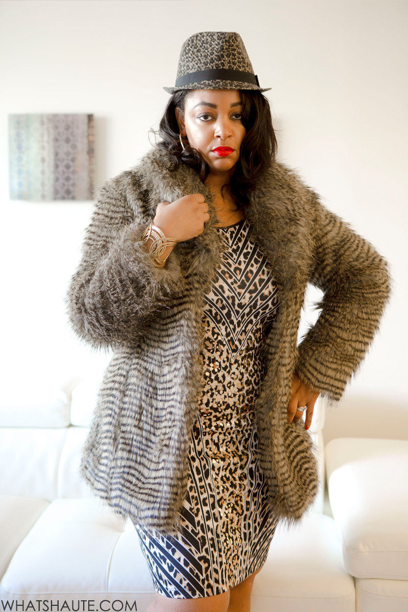 Quick and Easy Halloween Costumes: Cookie Lyon from Empire: What I'm Wearing: Scala™ Animal-Print Fedora, MAC Russian Red lipstick, Thalia Sodi Animal-Print Sheath Dress, Buffalo by David Bitton Cecile faux fur jacket, LOFT Gold cuff bracelet, Gold hoop earrings,