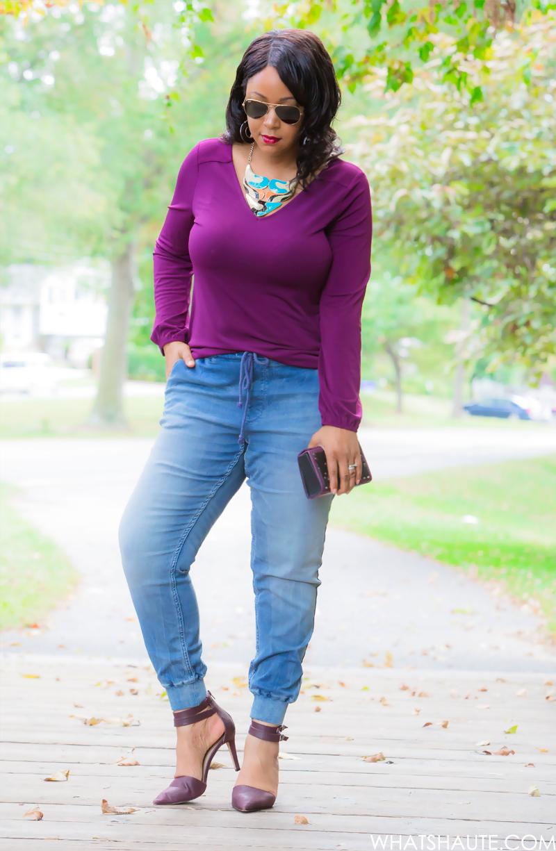 12 Ways to Wear Denim: Denim Joggers - Express V-Neck Lace-Up Back Tunic, Melrose and Market Knit Jogger Pant, Hayden Harnett Box Clutch, Sole Society Franki Pointed Toe Mid Heel, Kabuki bib necklace, Ray-Ban aviators