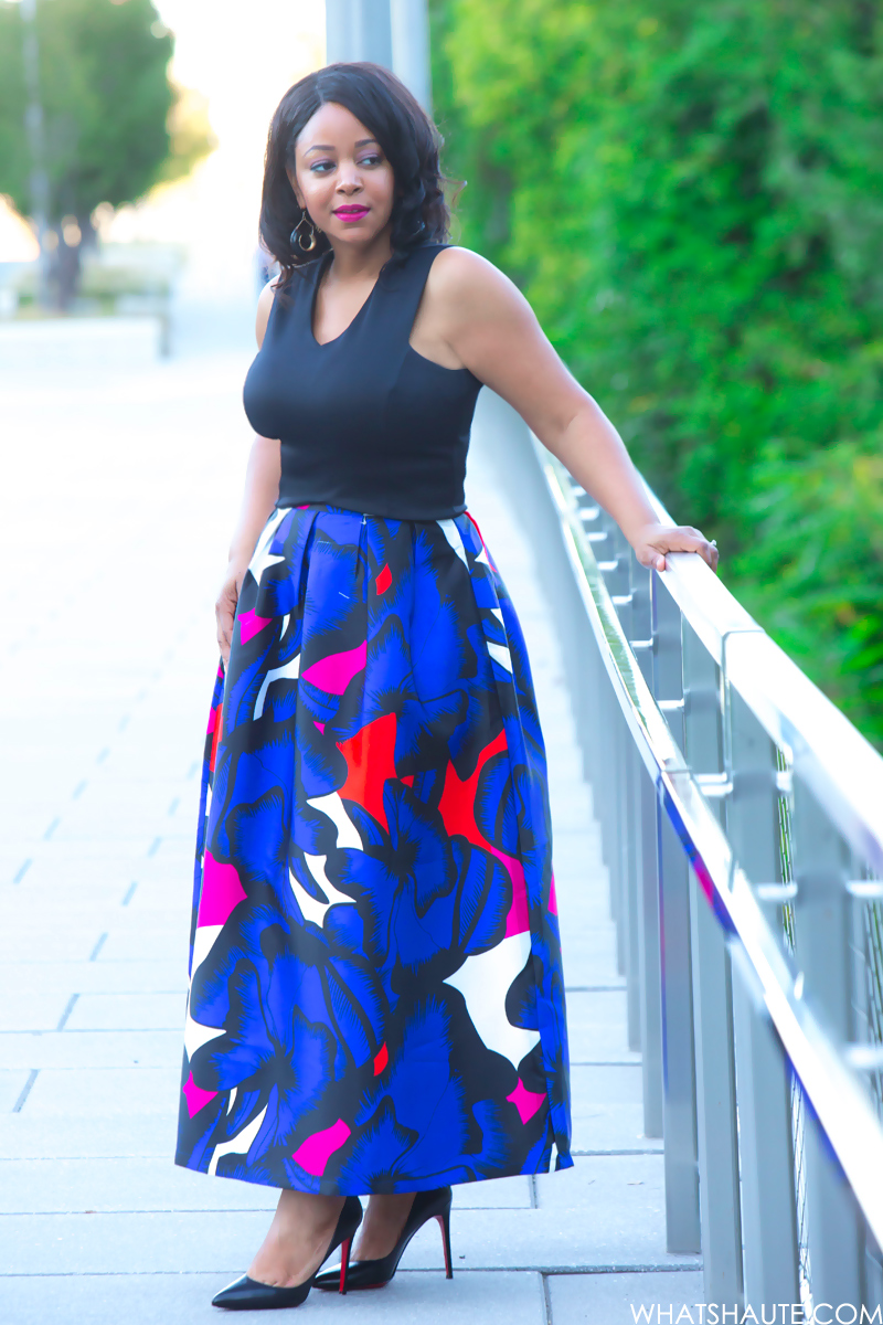 What I'm Wearing - Beautifully Flawed: Black Crop Top, Beulah Midi Length Floral Printed Skirt, Christian Louboutin Pigalle Pumps