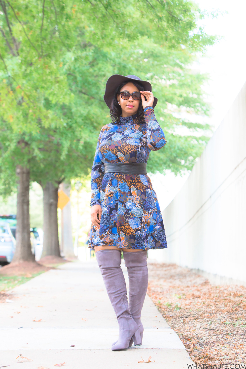 What I'm Wearing: 70's Comeback - Floppy Hat, Isaac Mizrahi New York 52mm Retro Sunglasses, H&M Patterned Jersey Dress, grey Faux Suede Over-the-Knee Boots, The Limited Obi Belt