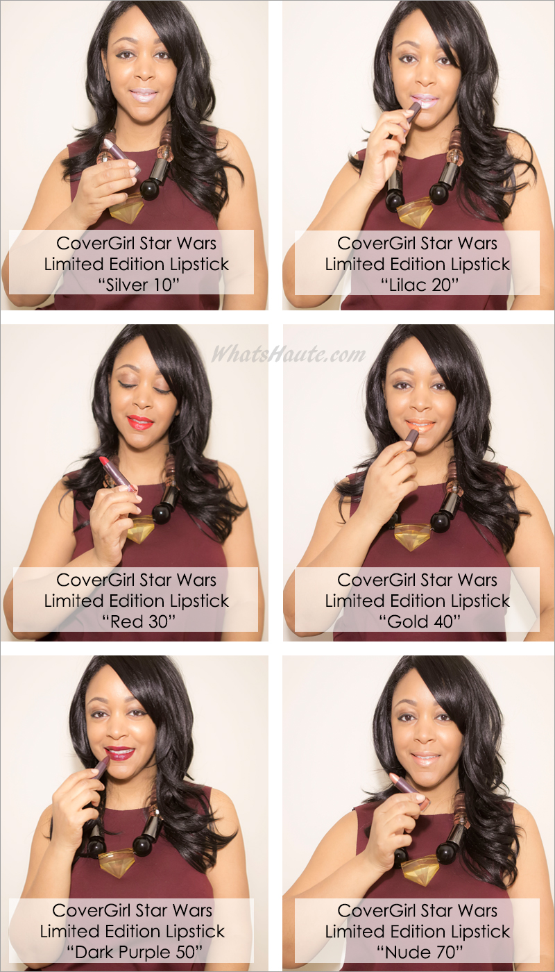 Makeup Monday: Beauty review, CoverGirl Star Wars Limited Edition Colorlicious Lipstick, lipstick swatches, lipstick review, Star Wars: Episode VII — The Force Awakens, Silver 10, Lilac 20, Red 30, Gold 40, Dark Purple 50, Nude 70