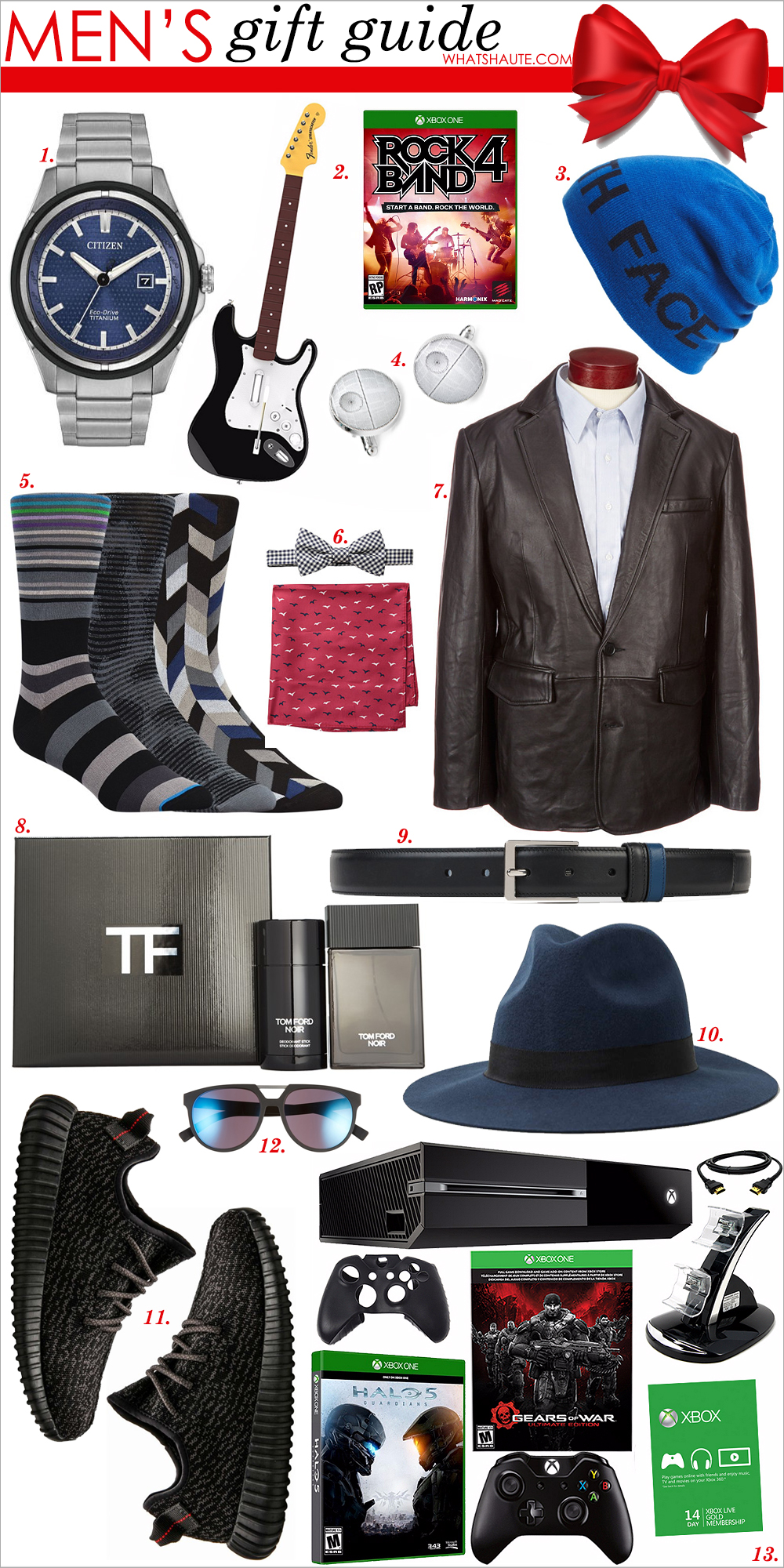 Holiday 2015: Gifts For Him - Men's gift guide, Citizen Eco-Drive Super Titanium Ti+IP Watch, Rock Band 4: Wireless Fender Stratocaster Bundle - Xbox One, The North Face Reversible Beanie, Ravi Ratan Cufflinks Inc. 'Star Wars™ - Death Star Blueprint' Cuff Links, Bugatchi Holiday Socks Gift Set (Assorted 3-Pack), Tommy Hilfiger Seagull Gingham Bowtie & Pocket Square Set, Roundtree & Yorke New Zealand Lamb Leather Blazer, Tom Ford 'Noir' Collection, Gucci Reversible leather belt, Navy Puritan hat with black band, Adidas Men Yeezy Boost 350, Dior Homme 55mm Sunglasses, Xbox One 500GB Gears of War Bundle with HALO 5: Guardians