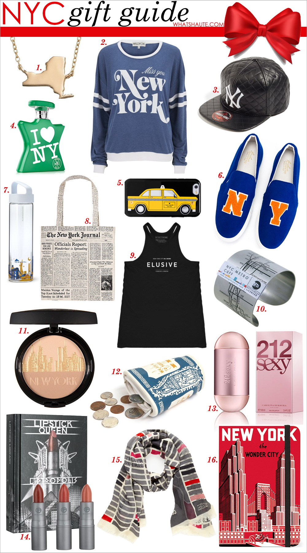 Holiday 2015: NYC Gift Guide, New York City, New York, Holiday gifts, NY 14k Gold Over Silver State Necklace, Wildfox New York Moonlight Sweatshirt - East Hampton, American Needle 'New York Yankees Quilted' Faux Leather Snapback Cap, Bond No.9 I Love New York For Earth Day Eau de Parfum, kate spade new york taxi iphone 6 case, Joshua Sanders NY slip-on sneakers, Starbucks You Are Here Collection Water Bottle - New York, 18.5 fl oz, kate spade new york Headlines Canvas Tote, Commune and Memoir Elusive Deep Tank, New York In A Word - Elusive, Designhype NYC Metro Cuff, Physicians Formula City Glow Daily Defense Bronzer, Kikkerland Lucky Beggar Wallet, 212 Sexy by Carolina Herrera 3.4 oz Eau de Toilette, Lipstick Queen Liptropolis Vol 1, kate spade new york girl about town scarf, Cavallini New York City Journal