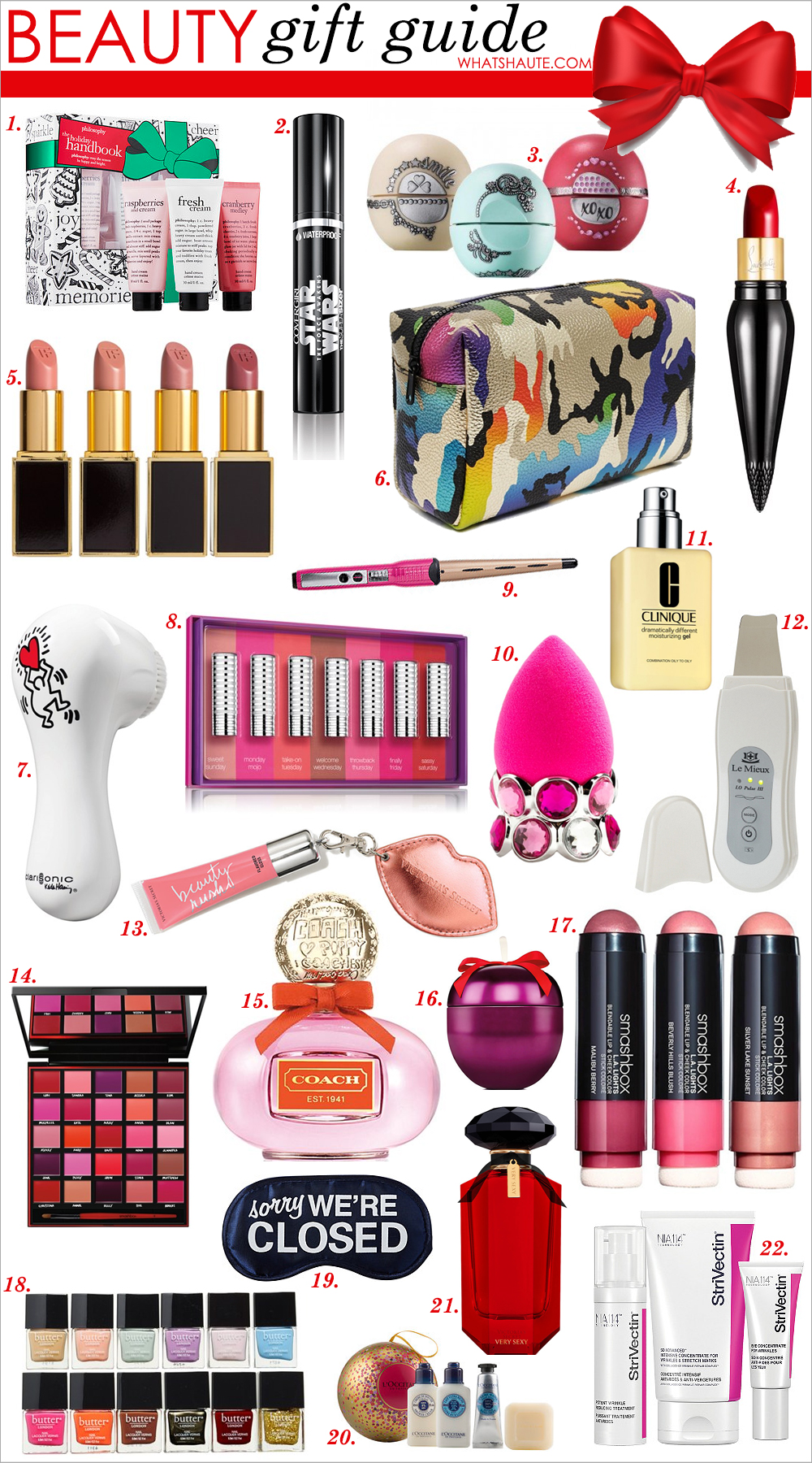 What's Haute Holiday 2015 Beauty Gift Guide: philosophy The Holiday Handbook Set, CoverGirl Star Wars Dark Side Limited Edition The Super Sizer Mascara, Very Black 800 / Light Side Limited Edition The Super Sizer Waterproof Mascara, Very Black 825, eos Holiday Lip Balm, Christian Louboutin Rouge Louboutin Silky Satin Lip Colour, Tom Ford Lip Color Set (Nordstrom Exclusive), ASOS Oversized Metallic Camo Makeup Bag, CLARISONIC 'Mia 2 - Keith Haring Love' Sonic Skin Cleansing System (Limited Edition) ($196 Value), Clinique 'Days of the Week' Matte Lipstick Set (Limited Edition) ($67 Value), Conair You Curl Styling Wand, beautyblender® 'bling.ring' Drying Stand & Makeup Sponge Applicator ($39 Value), Clinique 'Dramatically Different' Moisturizing Gel (6.7 oz.) (Special Purchase), Le Mieux 4-in-1 Ultrasonic Anti-Aging Skin Perfecter, Victoria's Secret NEW! Flavored Gloss Keychain, Smashbox '25th Anniversary' Lip Palette (Limited Edition), Coach Poppy Women's Perfume, 1.7 oz, The Body Shop Frosted Plum Feel Good Tin, Smashbox L.A. Lights Blendable Lip & Cheek Color, butter LONDON 'Twelve Months of Manis' Set (Limited Edition) ($120 Value), ULTA Sorry We're Closed Eye Mask, L'Occitane Shea Butter Festive Ornament, Very Sexy Eau de Parfum, StriVectin SD Power Trio