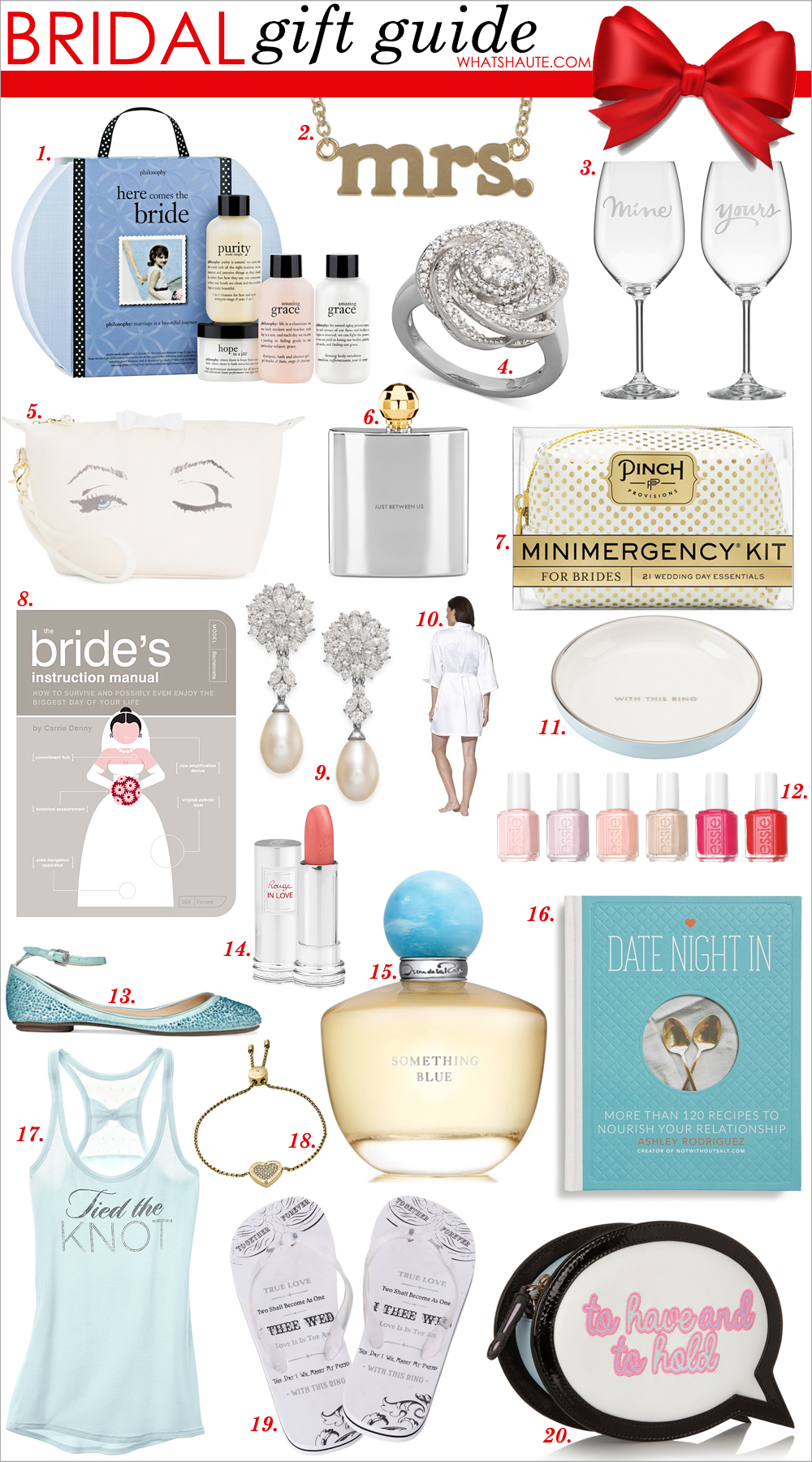 "Holiday 2015 - Bridal Gift Guide: philosophy 'here comes the bride' set, Jennifer Meyer ""Mrs."" Pendant Necklace, kate spade new york 'yours & mine' crystal wine glasses, Wrapped in Love™ Diamond Right Hand Ring, 14k White Gold Diamond Pave Knot Ring (1 ct. t.w.), Blue by Betsey Johnson Veil Cosmetics Case, kate spade new york Two of a Kind Between Us Faceted Flask, Pinch Provisions Minimergency Kit for Brides, The Bride's Instruction Manual: How to Survive and Possibly Even Enjoy the Biggest Day of Your Life, Arabella Cultured Freshwater Pearl and Swarovski Zirconia Drop Earrings in Sterling Silver (8mm), Gilligan & O'Malley® Women's Bridal Robe, kate spade new york 'take the cake' ring dish, essie bridal 2015 Nail Polish collection (tying the knotie / hubby for dessert / worth the wait / brides to be / brides no grooms / happy wife happy life), Blue by Betsey Johnson Joy Evening Flats, Online Only - Lancôme Bridal Collection Rouge In Love Lipcolor - Bonheur, Oscar de la Renta Something Blue Eau de Parfum Spray, 1.7 oz, 'Date Night In' Cookbook for Two, Dream Angels Bridal Tank, Michael Kors Gold-Tone Crystal Heart Slider Bracelet, Wedding Flip Flops, Sophia Webster To Have And To Hold Embroidered Leather Clutch"