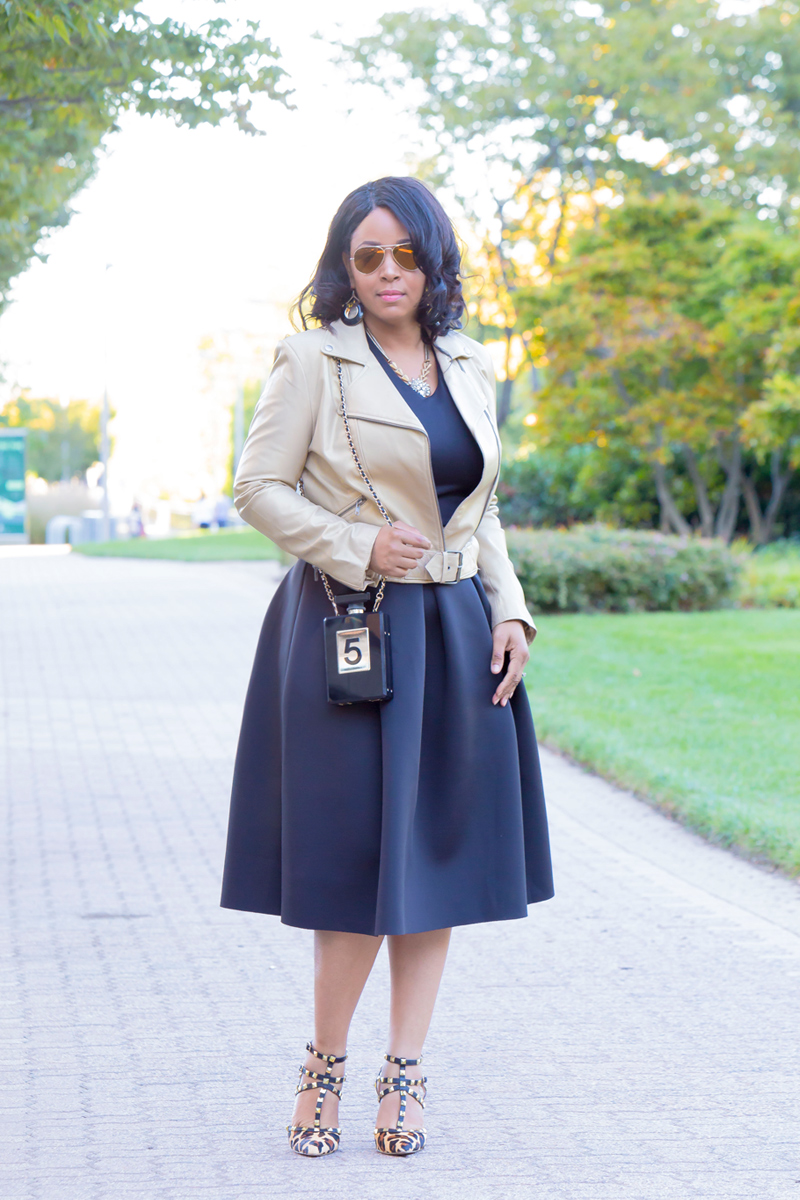 Girly & Edgy - What I'm Wearing: Michael Kors gold aviator sunglasses, identify Gold Leather Biker Jacket, Crop Top, Soprano Scuba Full Midi Skirt, Perfume Bottle Crossbody Clutch, BCBGeneration Darron Leopard Pump