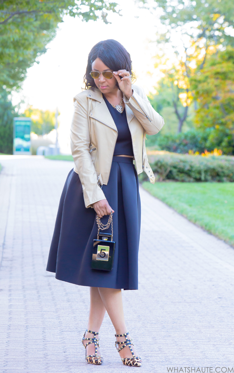 Get the look: Girly + Edgy - What I'm Wearing: Michael Kors gold aviator sunglasses, identify Gold Leather Biker Jacket, Crop Top, Soprano Scuba Full Midi Skirt, Perfume Bottle Crossbody Clutch, BCBGeneration Darron Leopard Pump
