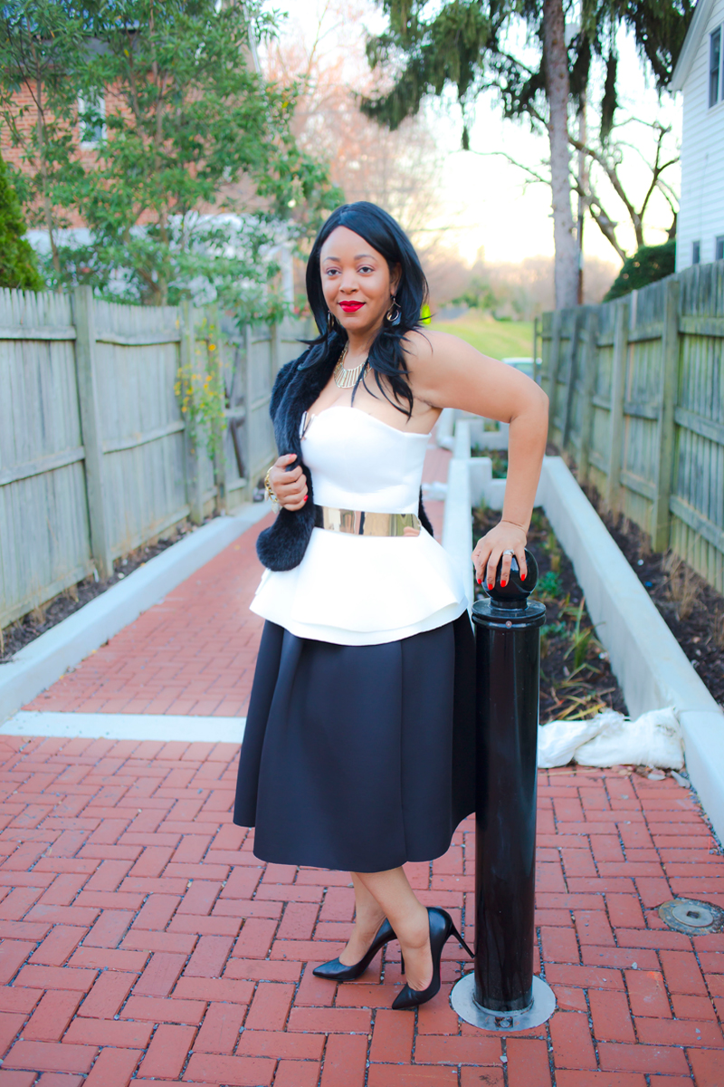New Year's Eve looks, holiday style, What I'm wearing, Zara Faux Fur Stole, ASOS Bandeau Top With Peplum And V Bar Detail, ASOS Full Metal Waist Belt, Soprano Scuba Full Midi Skirt, Christian Louboutin Pigalle Follies 100 black leather pumps, MAC Riri Woo red lipstick