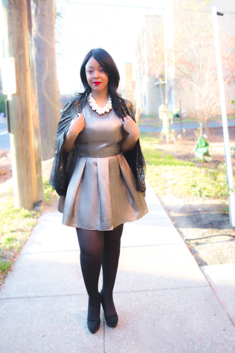What I'm Wearing + Get the look, Christmas 2015, Holiday dressing: metallic Gold Flared Dress, Target Twisted Pearl Cluster Necklace, W118 by Walter Baker Gold Brocade Blazer, Hue tights, Charles David Suede Platform Pumps, Riri Woo lipstick