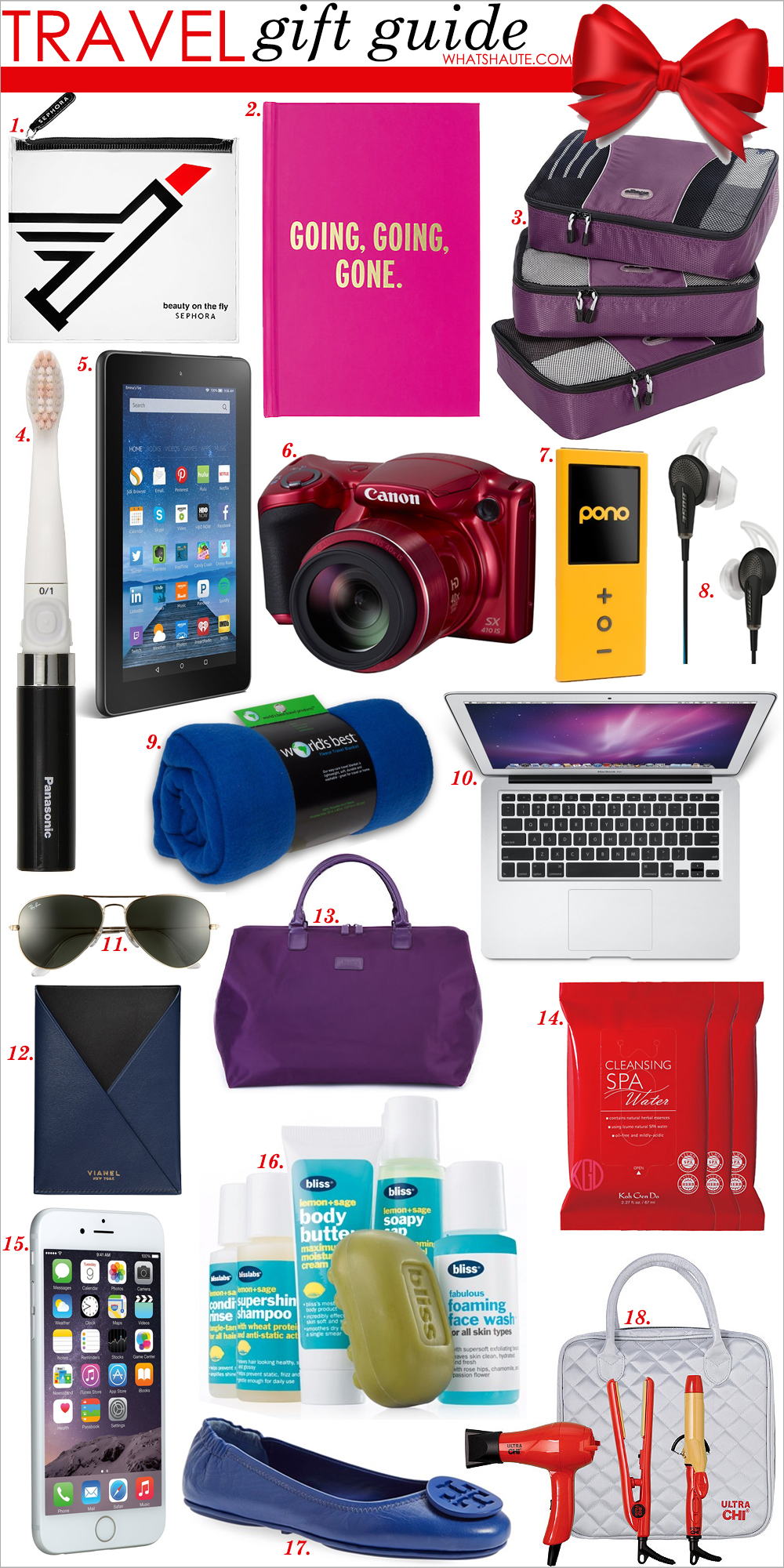"Holiday 2015: The Jetsetter Gift Guide, travel gift guide, travel essentials guide, travel gifts, SEPHORA COLLECTION Beauty on the Fly, kate spade new york travel journal, eBags Medium Packing Cubes - 3pc Set, Panasonic EW-DS90-K Compact Battery-Powered Toothbrush, Kindle Fire HD 8 8"" HD Display Wi-Fi 8 GB, Canon PowerShot SX410 IS, Pono Music Portable Music Player - Yellow, Bose QuietComfort 20 Acoustic Noise Cancelling Headphones - Black, Apple, Samsung, Android, World's Best Cozy-Soft Microfleece Travel Blanket - Blue, Apple MJVE2LL/A MacBook Air 13.3-Inch Laptop, Ray-Ban 'Original Aviator' 58mm Sunglasses, VIANEL New York V12 Passport Cover, LIPAULT PARIS Weekend Carry-On Satchel, KOH GEN DO Cleansing Spa Water Cloths, Apple iPhone 6 16 GB - Silver, Bliss Lemon + Sage Sinkside Six Pack Travel Set, Tory Burch 'Minnie' Travel Ballet Flat with Logo, Ultra CHI Travel Tool Kit,"