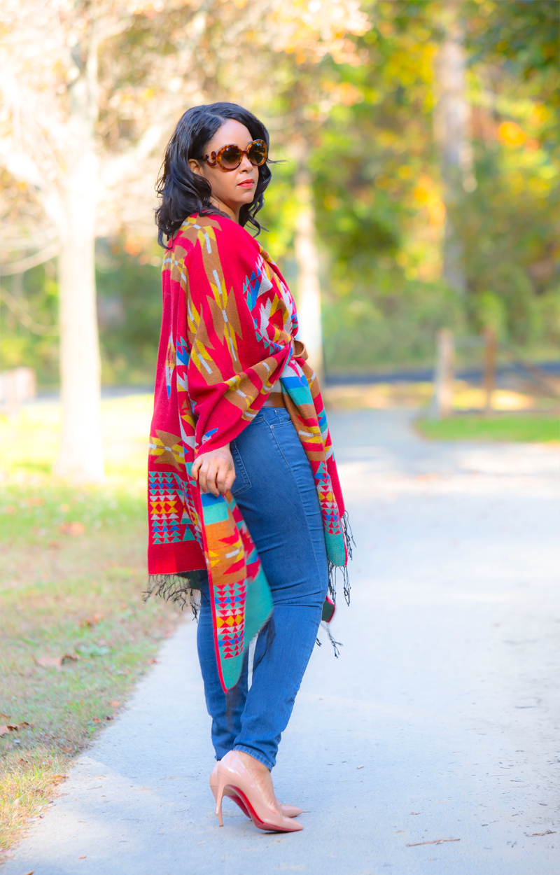 12 Ways to Wear Denim: High-Waist Jeans | What I'm Wearing + Get the look: Prada Baroque Round Sunglasses, MAC Chili Lipstick, Merona™ Women's Print Wrap Poncho - Multi-Colored, ASSETS® by Sara Blakely Spot On Slimmers Cami, Levi's Slim Roller Belt, TWO by Vince Camuto High-Waist Skinny Jeans, Christian Louboutin Pigalle Follies Patent-Leather Pumps