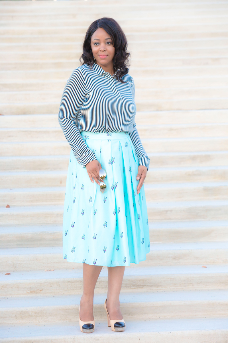 What I'm Wearing: Stripes and pleats, Get the look: AQUASWISS James Mirrored Aviators - Silver, H&M Striped Long Sleeved Blouse, CATHERINE Catherine Malandrino Matilde Skirt, Chanel Cap Toe Pumps with metal detail