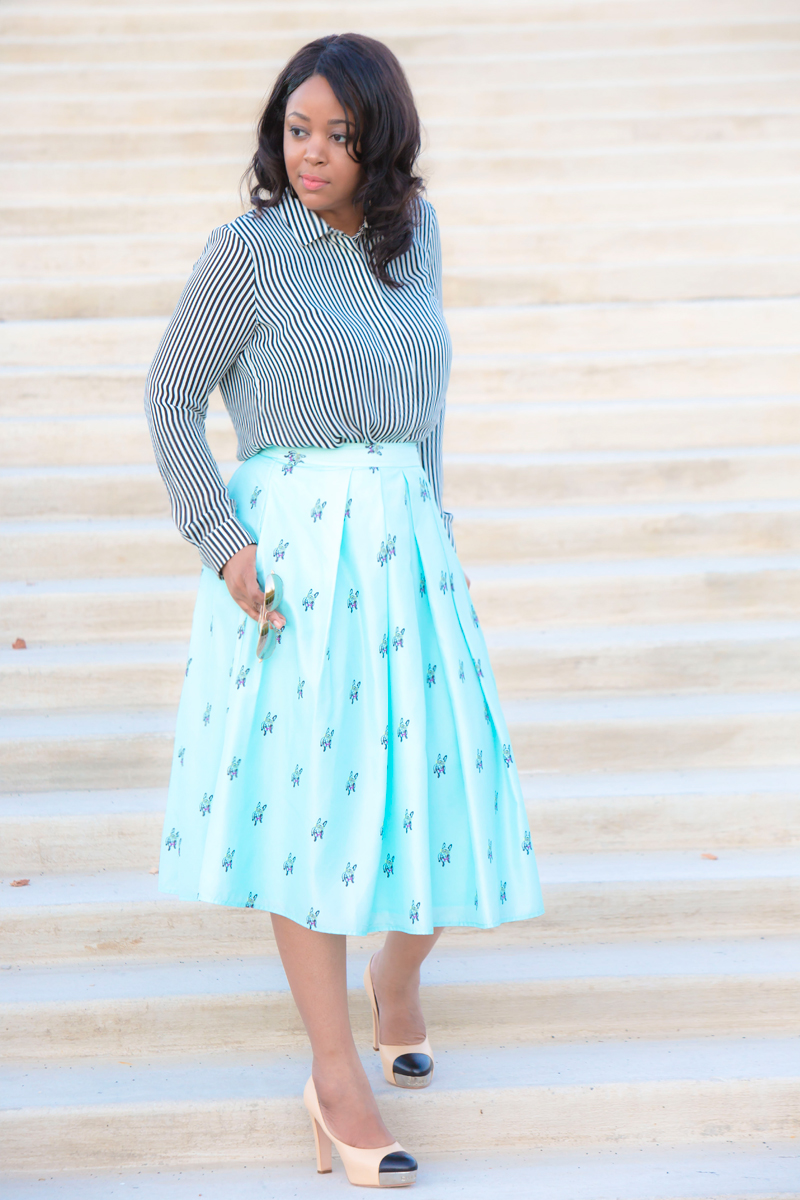 What I'm Wearing: Stripes and pleats, Consolidating My Closet, Get the look: AQUASWISS James Mirrored Aviators - Silver, H&M Striped Long Sleeved Blouse, CATHERINE Catherine Malandrino Matilde Skirt, Chanel Cap Toe Pumps with metal detail