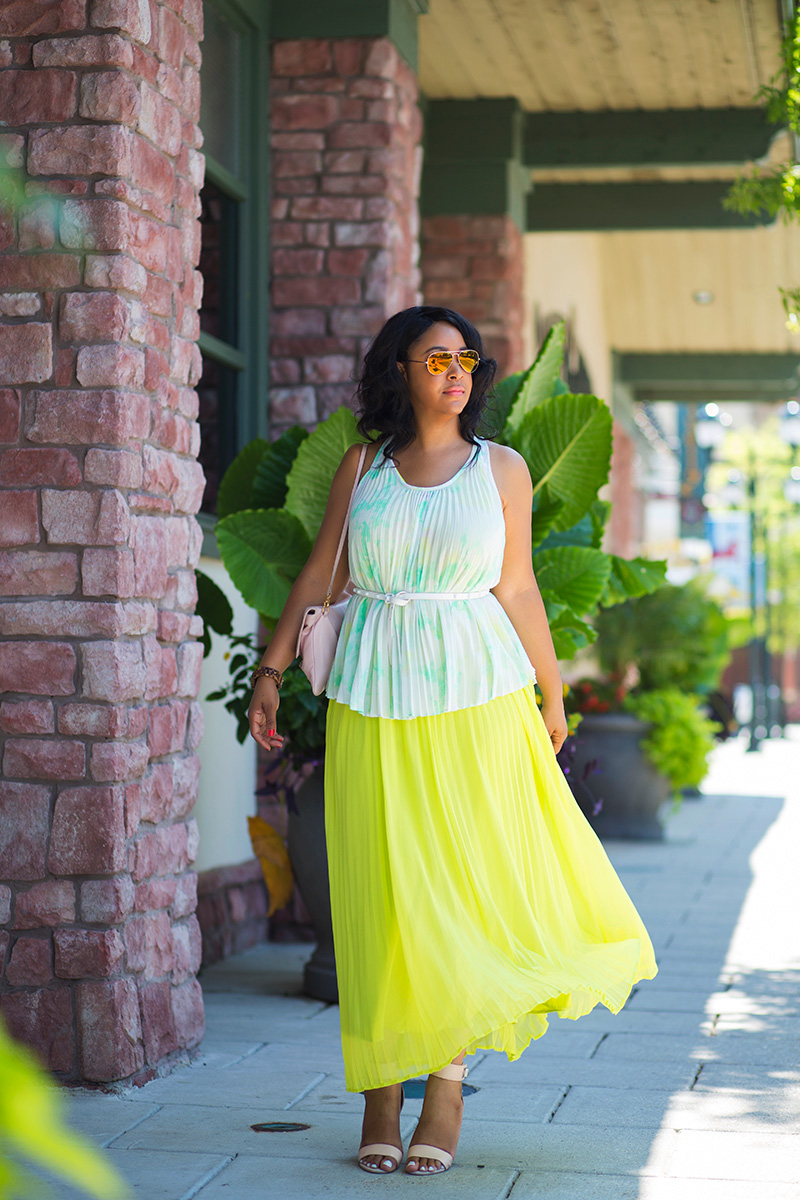 #TBT: Neon Pleated Maxi Dress - Michael Kors Gold Aviator Sunglasses, Pleated Watercolor Print Shell Top, Victoria's Secret Neon Pleated Maxi Dress, IACUCCI Dusty Rose Large Genuine Leather Convertible Clutch/Shoulder Bag, French Connection Women's Katrin Dress Sandal in Blush