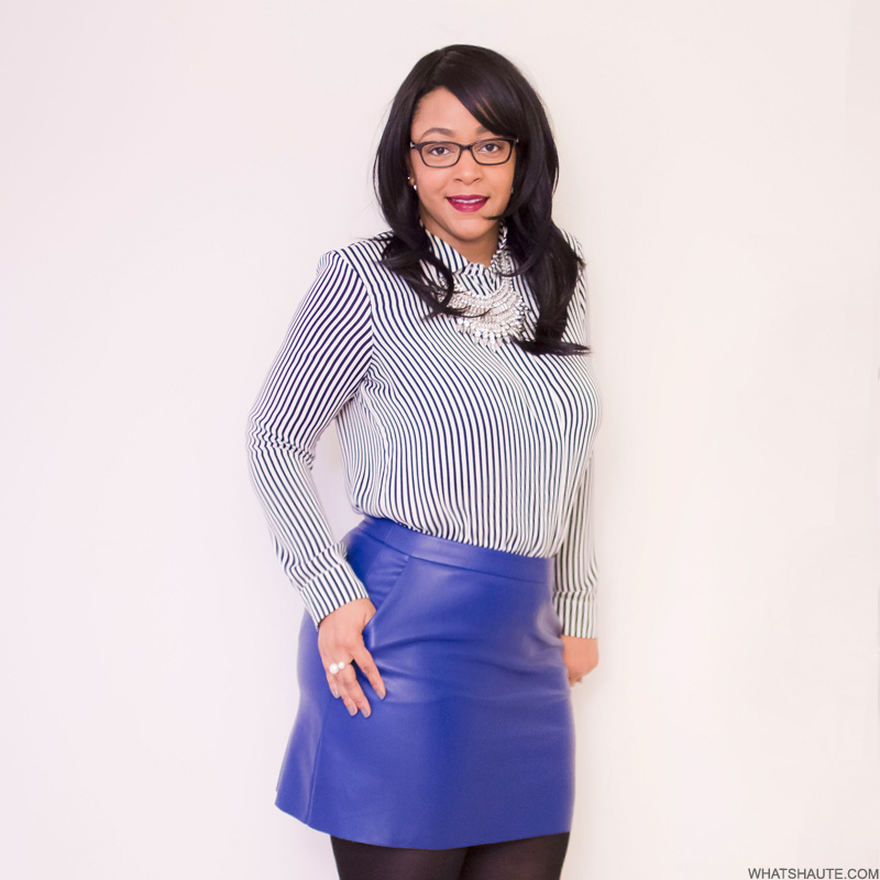 Black & white striped blouse, blue faux leather skirt, personal style