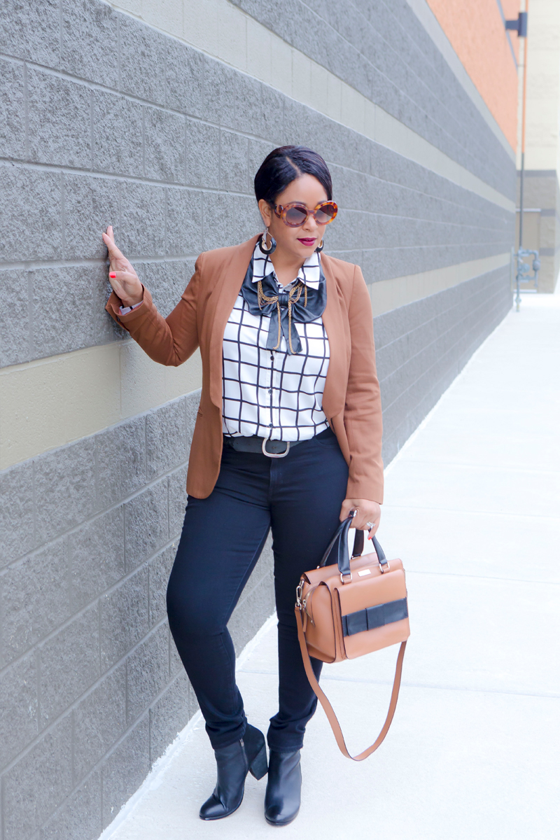 Classic Colors: Black, White and Brown - Bing Bang & Timo Weiland Bow Web-Chain Necklace, Camel brown blazer, black & white Grid print blouse, Levi's black high-waist jeans, Prada Baroque Round sunglasses, Kate Spade Kennedy Bow bag, Vince Camuto booties