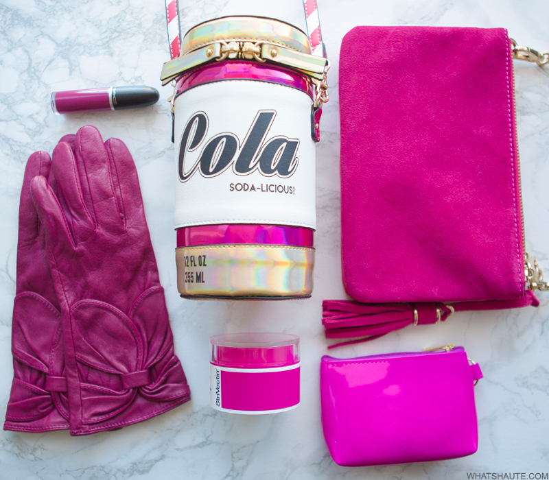 Flatlay - magenta leather bow gloves, MAC Retro Matte Liquid Lipcolour in Oh Lady, Aldo Ferentino Cross Body Cola Bag, StriVectin Repair & Protect Moisturizer Broad Spectrum SPF 30, Wink & Winn crossbody, Harrod's patent leather pouch