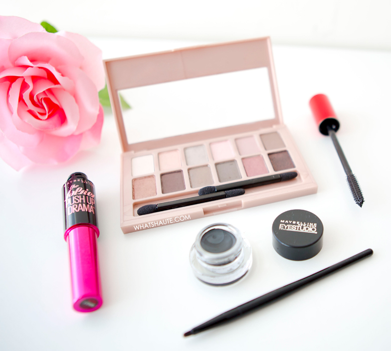 Valentine's Day beauty look - Maybelline The Blushed Nudes palette, Falsies Push Up Drama Mascara, and Eye Studio® Lasting Drama™ Gel Eyeliner in Blackest Black