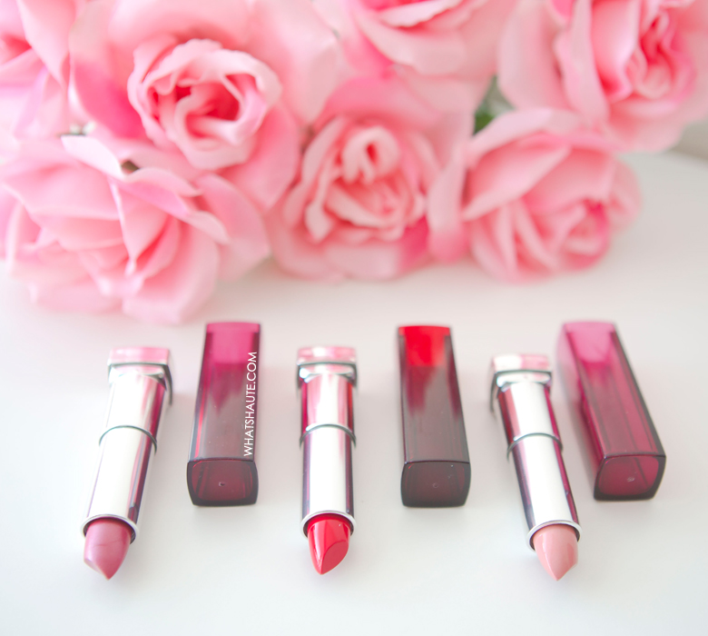 Valentine's Day beauty - Maybelline Color Sensational Lip Color - Born With It, Pink Wink, Are You Red-dy