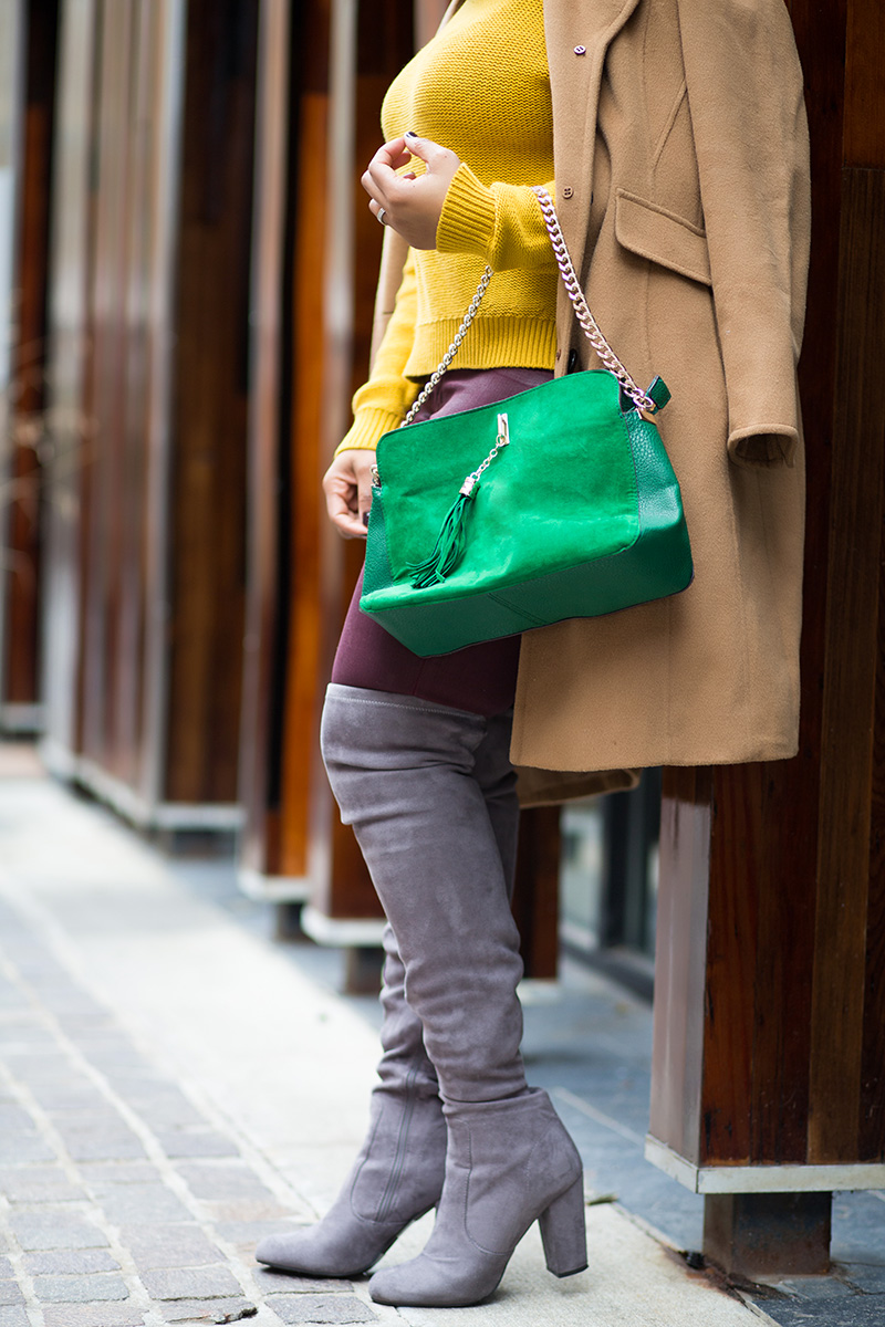 My Style: For the Love of Colors - What I'm Wearing / Get the Look: Michael Kors Gramercy Aviator Sunglasses, Ellen Tracy Camel Coat, Old Navy Chunky Textured Cropped Sweater, Hudson Juliette burgundy coated super skinny denim jeans, Grey Suede Over the Knee Boots, Green Chain Strap Shoulder Bag