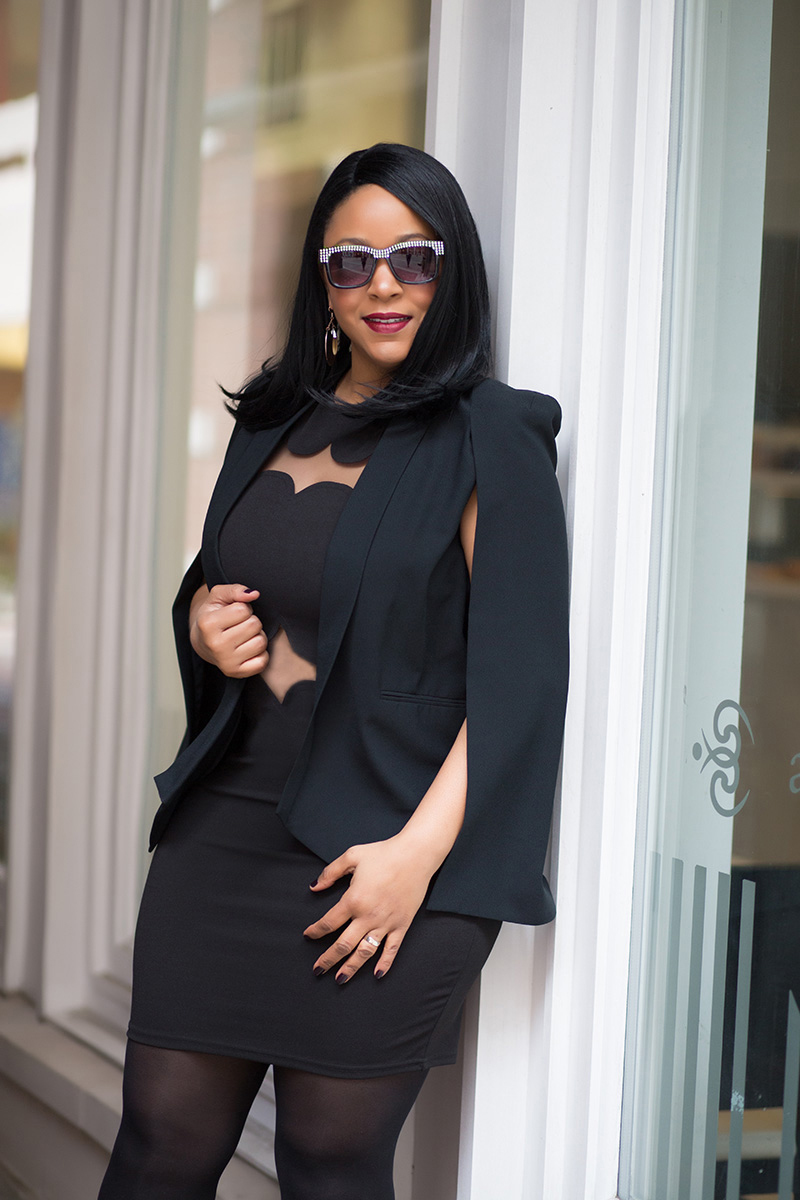 What to Wear this Valentine's Day: The Little Black Dress - What I'm Wearing: Who What Wear™ Women's Cape Blazer, Missguided Sandy Scallop Shift Dress, Women's Betseyville Surf Shade Sunglasses with Rhinestones, Christian Louboutin Pigalle Follies pumps