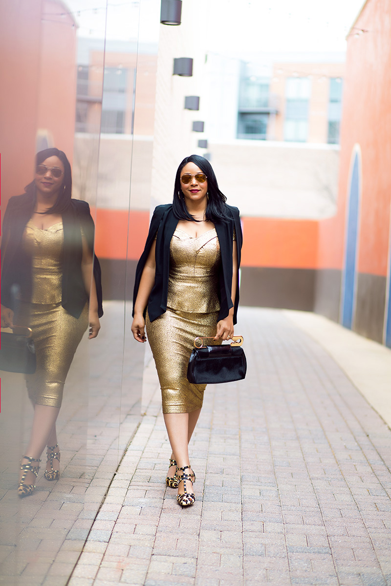 What to Wear This Valentine's Day: Liquid Gold, Who What Wear Women's Cape Blazer, XOXO Off the Shoulder Metallic Peplum Top, XOXO Metallic Gold Midi Pencil Skirt, Bodhi Safety Pin Calf Hair Clutch, BCBGeneration Darron Leopard Pumps