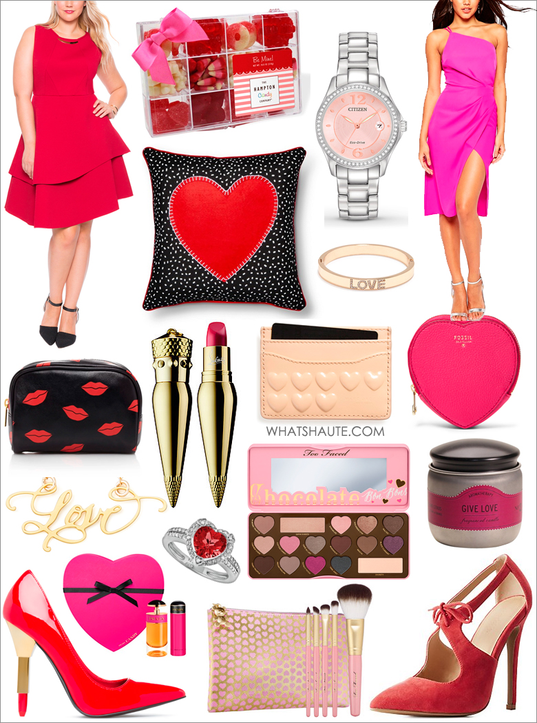 Valentine's Day Gifts Under $100 (and one under $150): Eloquii Studio Bonded Pique Dress, The Hampton Popcorn Company Valentine's Day Assorted Candy, Kay - Citizen Women's Watch Silhouette Crystal FE1140-86X, ASOS Cami Strap Drape Midi Pencil Dress, Valentine's Heart Toss Pillow, Rhinestoned Love Bangle, Lips Print Makeup Case, Christian Louboutin Silky Satin Lip Colour, Marc Jacobs Embossed Heart Leather Card Case, Fossil heart-shaped leather coin purse, Brevity Love Hand-Calligraphed Necklace, Sterling Silver Lab-Created Ruby & Diamond Accent Heart Frame Ring, Too Faced Chocolate Bon Bons Eye Shadow Collection, Aromatherapy Give Love Tin Candle, Shoedazzle Lipstick Pumps by Scene, Prada 'Candy' Set, Too Faced Teddy Bear Hair 5 Piece Brush Set, Cut-out Lace-Up Pumps