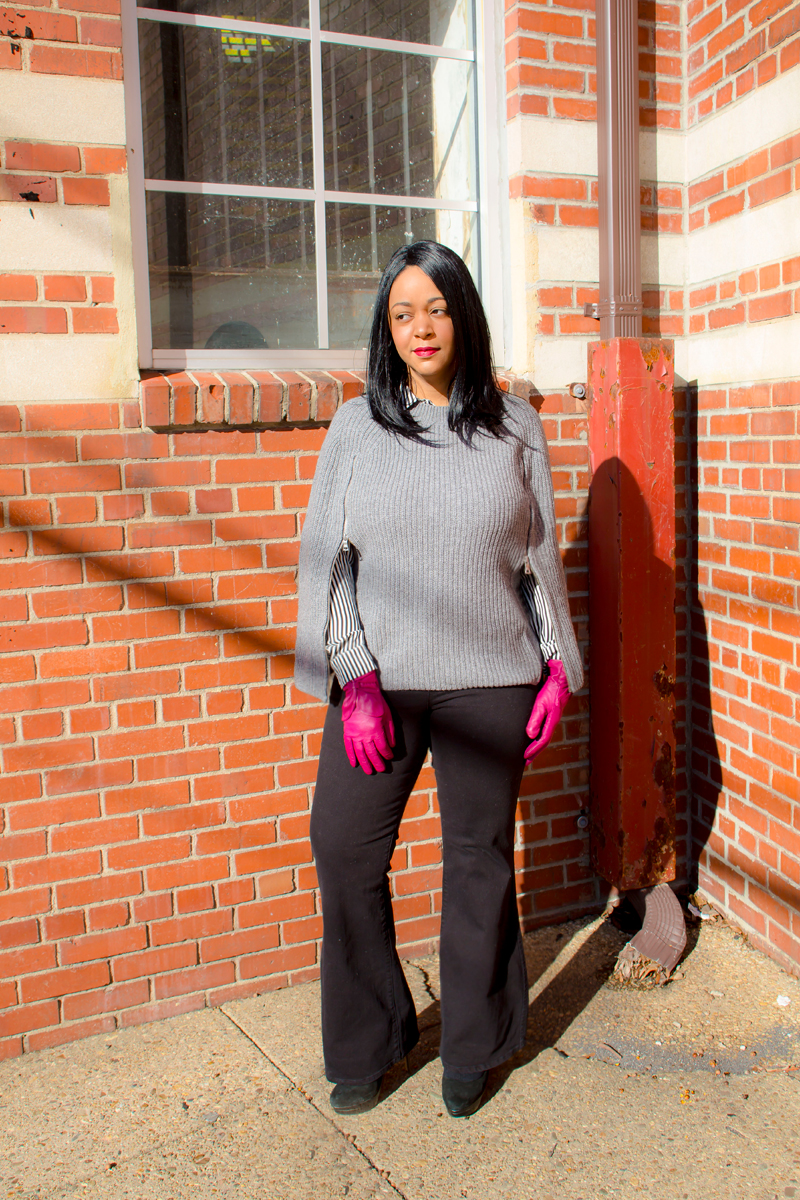 Winter style - Capes, Bows and Flares - What I'm Wearing: BCBGMAXAZRIA Sherwin Poncho Sweater, Charles by Charles David Suede Platform Pumps, Madewell Flea Market Flares - Rollins Wash, H&M Long-sleeved Striped Blouse, Magenta Bow Leather Gloves