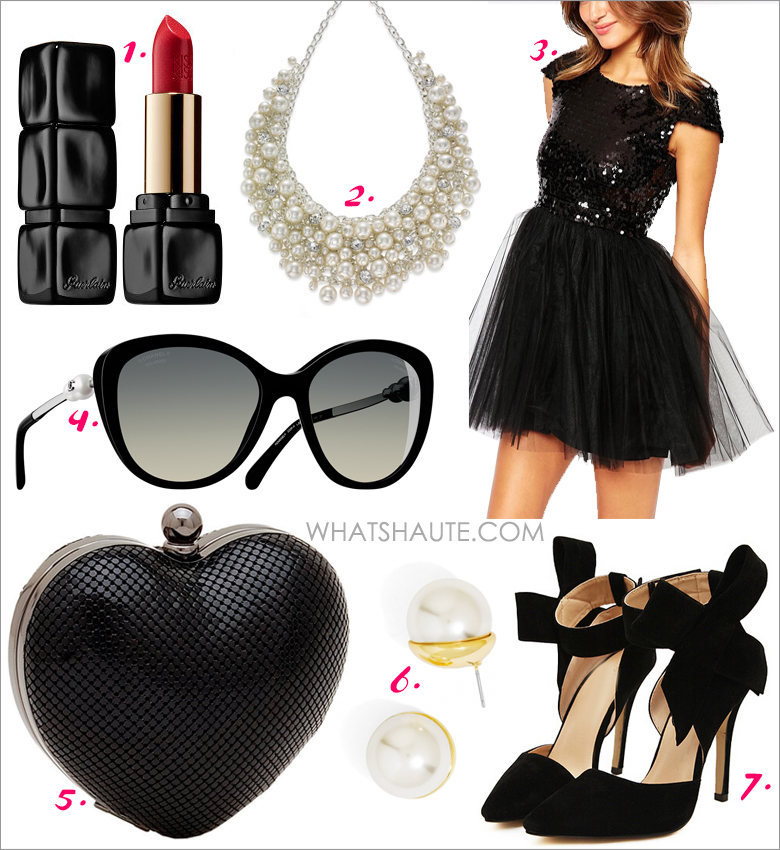 What To Wear to My Parisian-Themed 40th Birthday Party - Parisian fashionista: Guerlain KissKiss Creamy Satin Finish Lipstick, Charter Club Silver-Tone Glass Pearl Cluster Bib Necklace, Little Black Dress Carrie Dress With Sequin Top And Tulle Skirt, Chanel Butterfly Pearl Sunglasses, Whiting & Davis Charity Heart Minaudiere, XL Pearl Bud Studs, Black With Bow Slingbacks High Heeled Pumps
