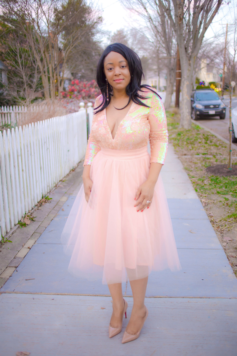 Tulle Skirts & Ballerina Dreams - What I'm Wearing: Nasty Gal Vanna Sequin Dress, pink sequin plunging V-neck dress, Windsor Store Tulle Darling Party Skirt, Valentine's Day date looks, ballerina style, Christian Louboutin 'Pigalle Follies' Pointy Toe Pumps, sparkle