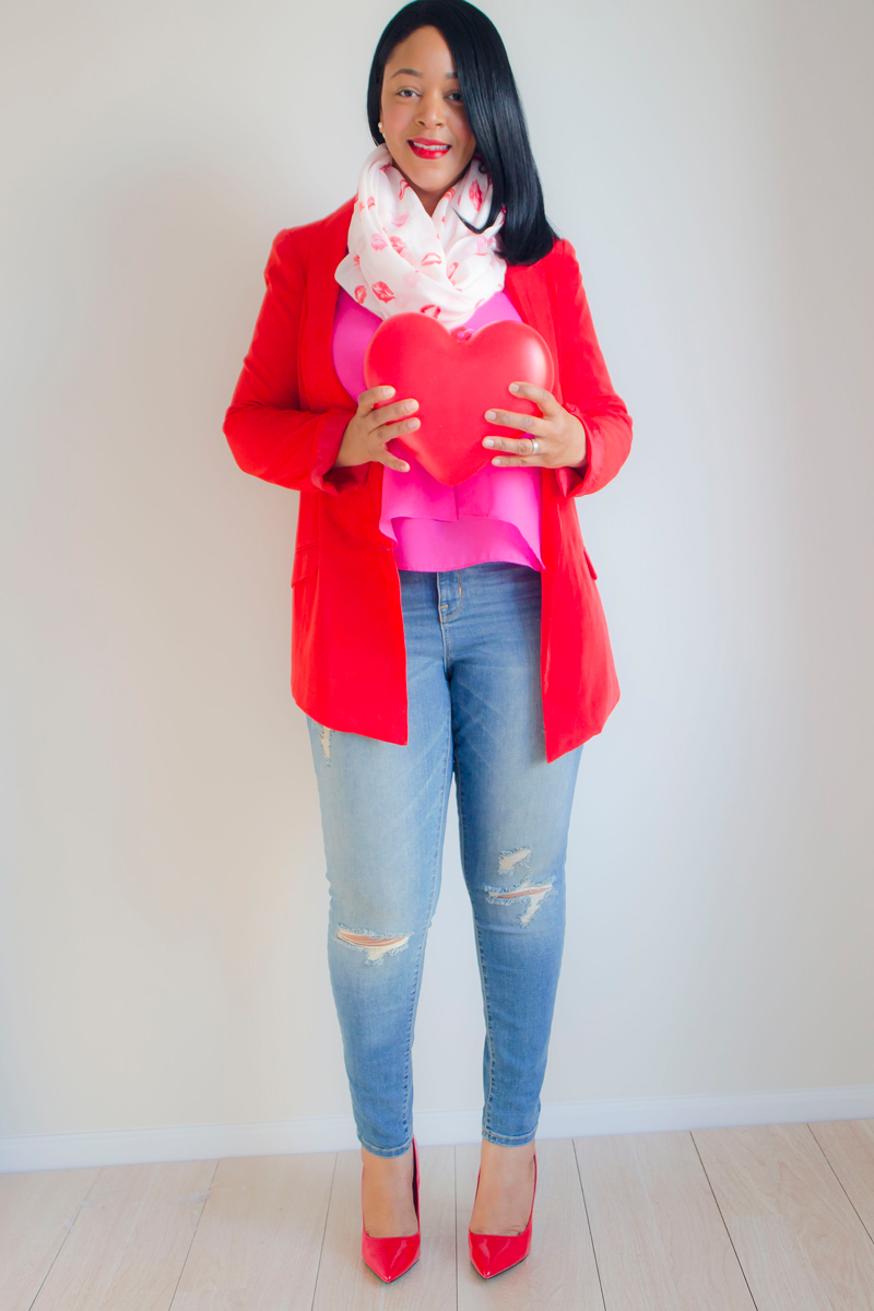 What to Wear This Valentine's Day: Casual Chic - Laundry by Shelli Segal Red Boyfriend Blazer, Hot Pink Tank Top, Manhattan Scarf Company Infinity Lip Print Scarf, Mossimo Mid-Rise Super Skinny Jean Destructed, ShoeDazzle Lipstick Heels