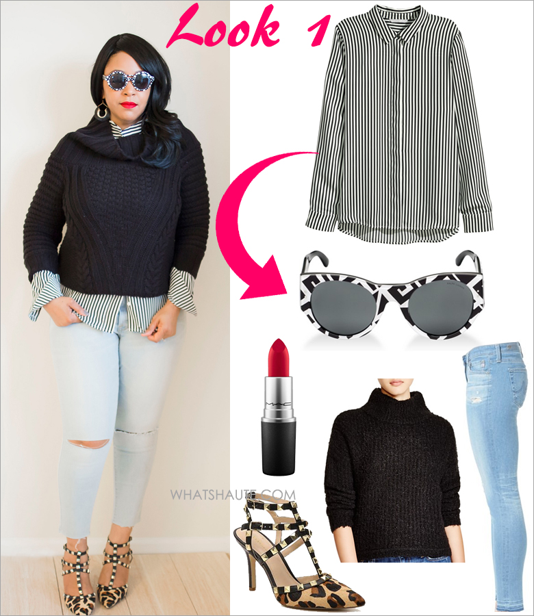Three Ways to Wear: A Striped Blouse - H&M black and white Striped Long-sleeved Blouse, Peter Pilotto for Target sunglasses, MAC RiRi Woo red matte Lipstick, H&M Chunky Knit Sweater, Mossimo Mid-Rise Slit Knee Cropped Jean Light Denim, BCBGeneration Darron Leopard studded Pumps