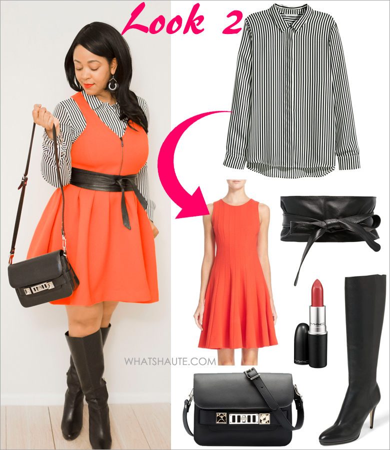 Three Ways to Wear: A Striped Blouse - H&M black and white Striped Long-sleeved Blouse, M·A·C Lipstick - Chili, Rebecca Minkoff Royce Fit and Flare Dress, The Limited Obi Wrap Belt, Proenza Schouler PS11 Mini Classic, Audrey Brooke Over the Knee Boots