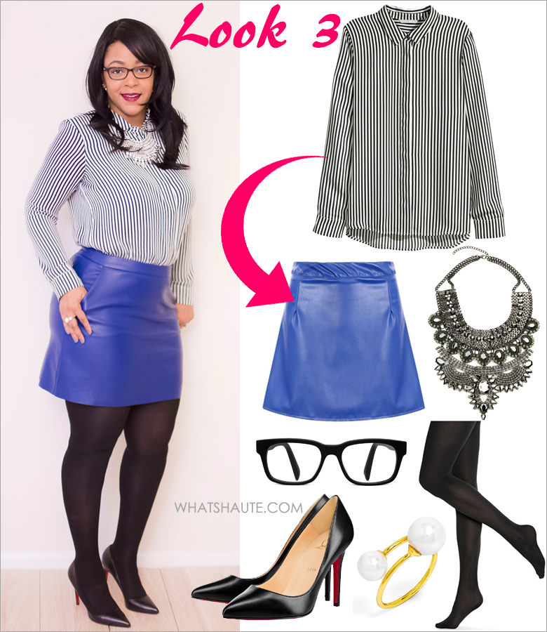 Three Ways to Wear: A Striped Blouse - H&M black and white Striped Long-sleeved Blouse, Anna Sui Women's AS 514 Black Frame Glasses, BaubleBar 'Snowball' Faux Pearl Wrap Ring, boohoo.com Luna Faux Leather A Line Mini Skirt, Christian Louboutin Pigalle Follies Point-Toe Red Sole Pump, Hue tights, Eye Candy Los Angeles Jania Necklace