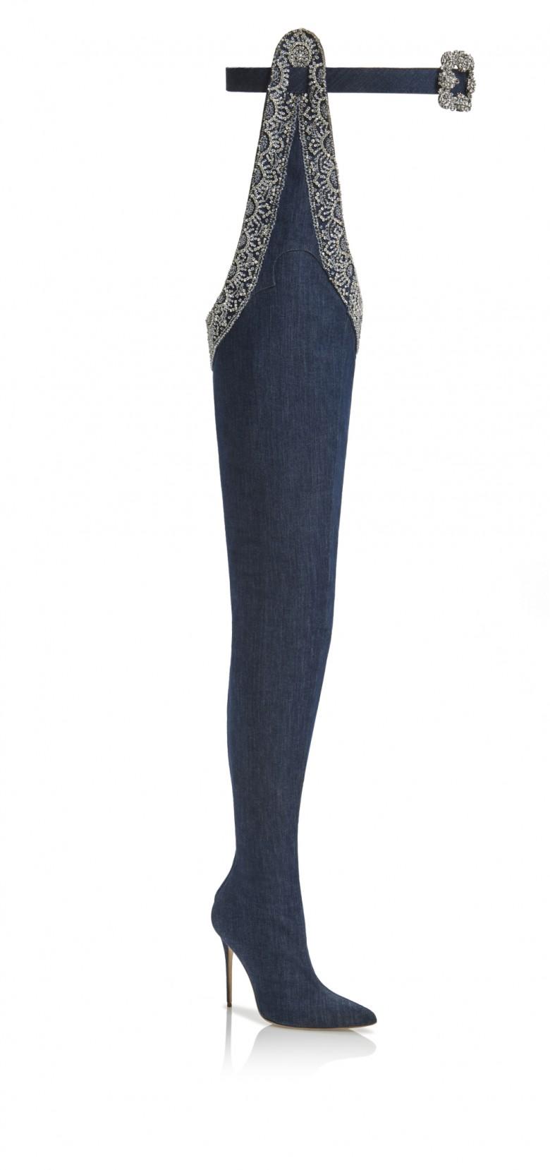 Rihanna x Manolo Blahnik Denim Desserts Collection - 9 to 5 thigh high boot