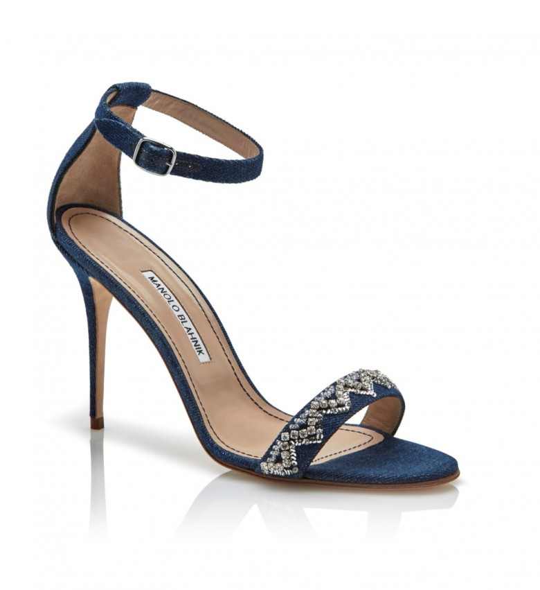 Rihanna x Manolo Blahnik Denim Desserts Collection - ankle strap sandal