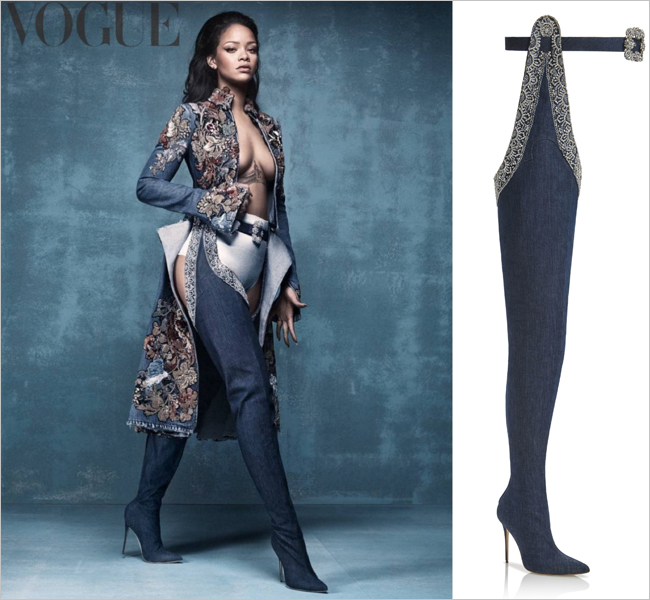 Rihanna Manolo Blahnik Denim Desserts Collection - wearing 9 to 5 Thigh High Boots on British Vogue cover