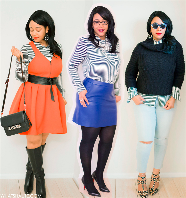 Three Ways to Wear A Striped Blouse