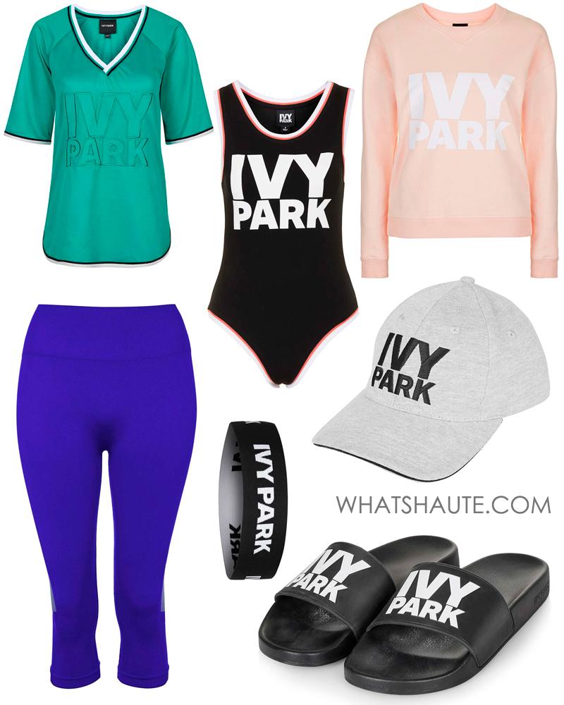 Ivy Park by Beyonce Logo Slider, Seamless Capri Leggings, Logo Baseball Cap, Logo Mesh Tee, Logo Crew Neck Sweatshirt, Elastic Logo Headband