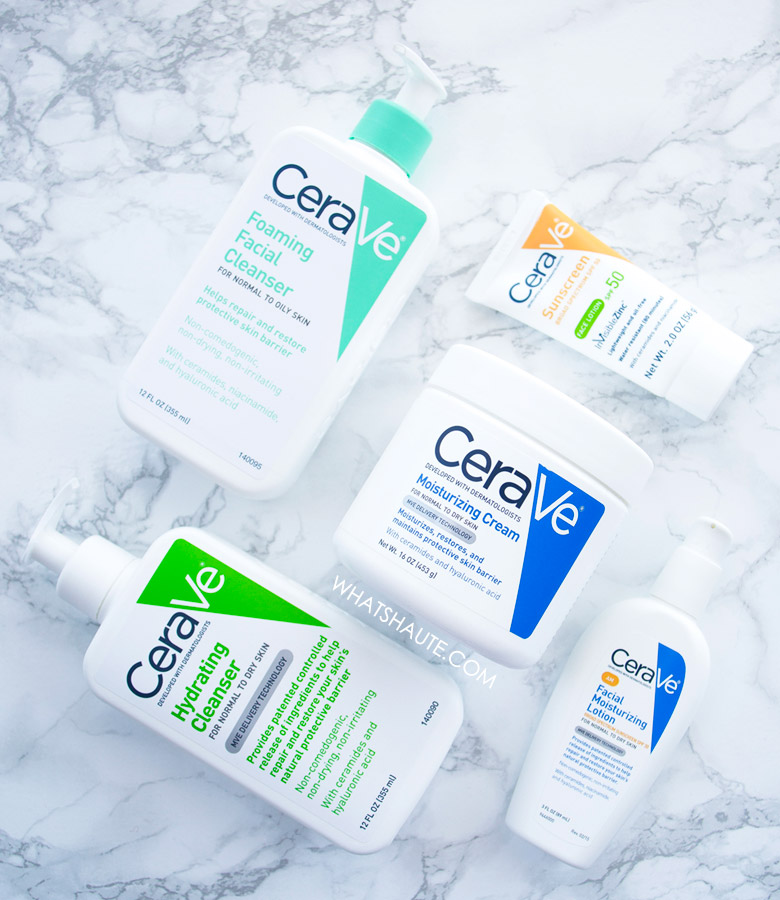 CeraVe Skincare: CeraVe Moisturizing Cream, CeraVe Hydrating Cleanser, CeraVe Foaming Facial Cleanser, CeraVe AM Facial Moisturizing Lotion, and CeraVe Sunscreen Face Lotion SPF 50