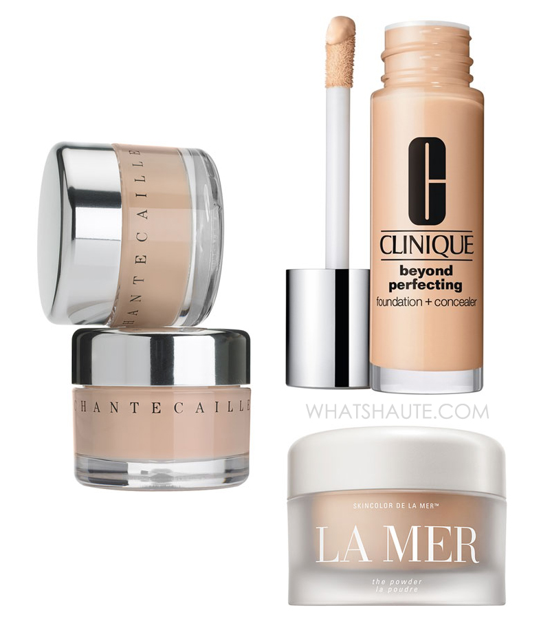 Coverage for a Flawless Face: Chantecaille Future Skin Foundation, Clinique Beyond Perfecting Foundation + Concealer, La Mer The Powder