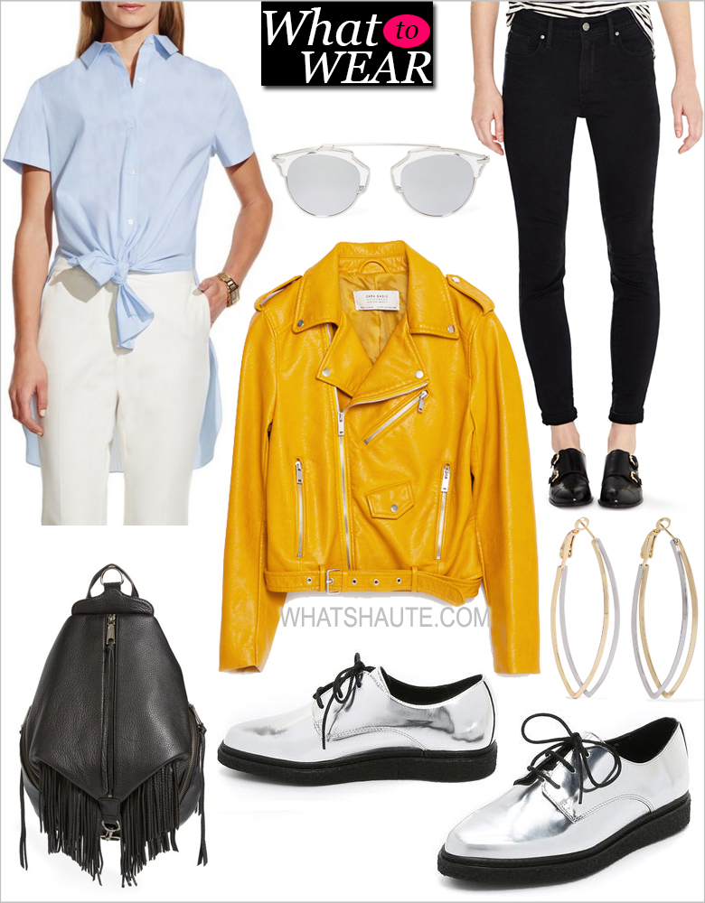 What to Wear this Weekend: Zara Yellow Faux Leather Jacket, Dior Silver So Real Sunglasses, Vince Camuto Stripe Tie Front Tunic Shirt, Levi's® 721 High-Rise Skinny Jeans, Kenneth Jay Lane Gold and rhodium-plated hoop earrings, Opening Ceremony Wynn Creeper Oxfords, Rebecca Minkoff Julian Fringe Backpack