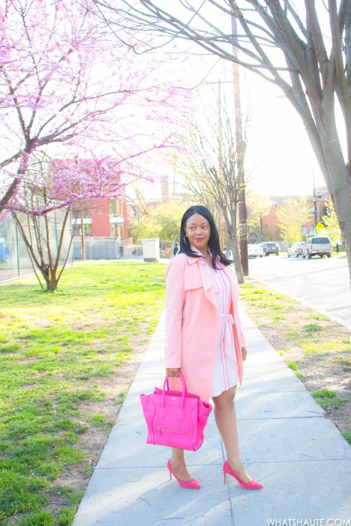 Pink Overload - What I'm Wearing: Mural Open Front, Express Factory Shirt Dress, Celine Leather Luggage Tote in Fluro Pink, Topshop pink Suede Pumps