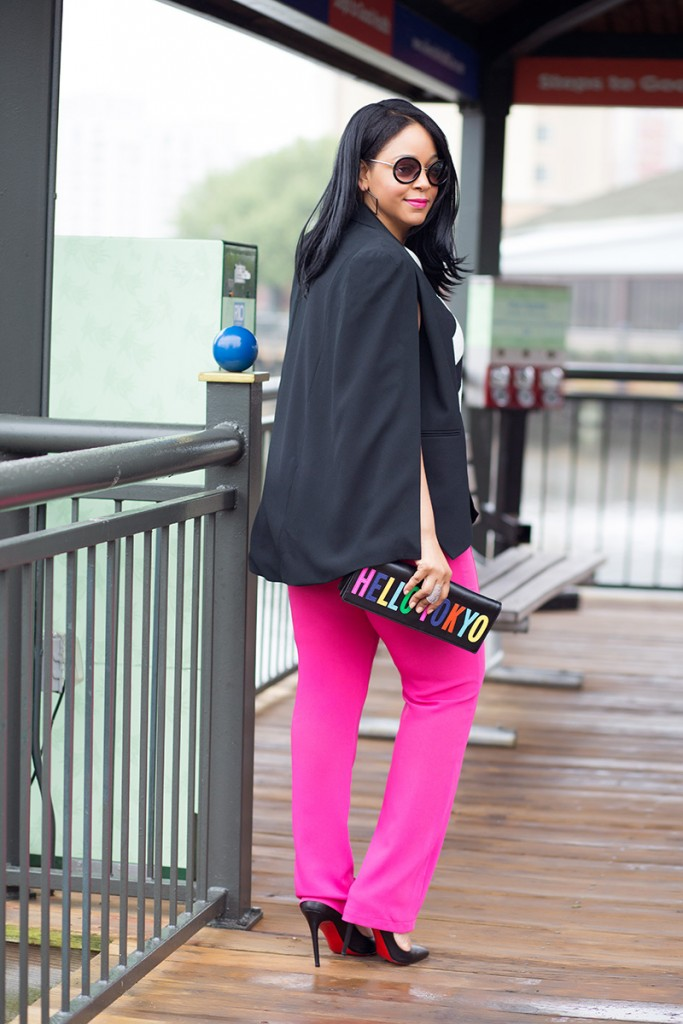 What I'm Wearing: Women's Round Sunglasses, ASOS Stripe Cross Front top, Marina Rinaldi hot pink High Waist trouser pants, Christian Louboutin Pigalle Follies Pointy Toe Pumps, Kate Spade New York Hello Tokyo clutch