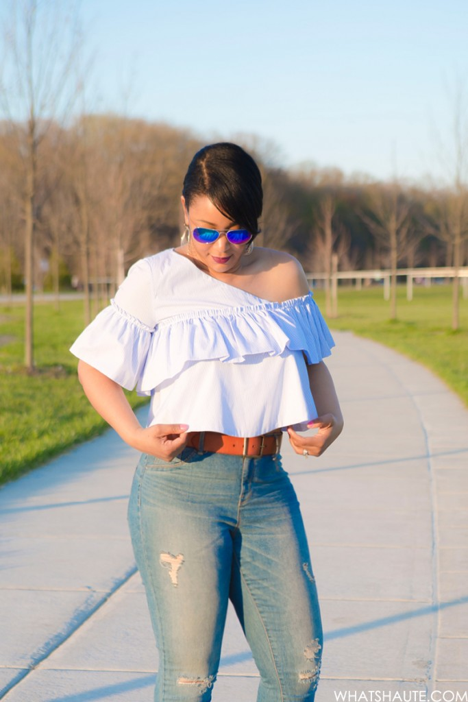 Three Trends, One Top: One-shoulder asymmetric ruffle blouse, high-waist distressed denim jeans, Blue Mirrored Aviators, French Connection Katrin Leather Sandals