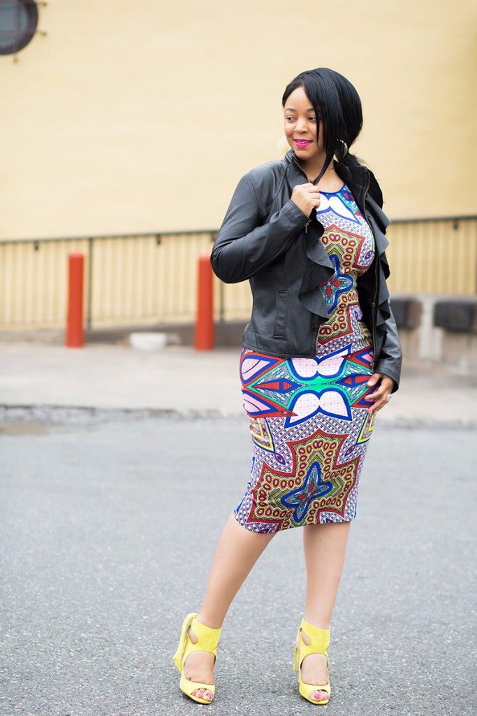 What I'm wearing, outfit details: Waved Layer Dangle Earrings, XOXO Women's Placed Print Scuba Midi Dress Multi-Colored, Zara Yellow Suede Leather High Heel Sandals With Bow, Bagatelle Ruffle Leather Jacket, bodycon dresses