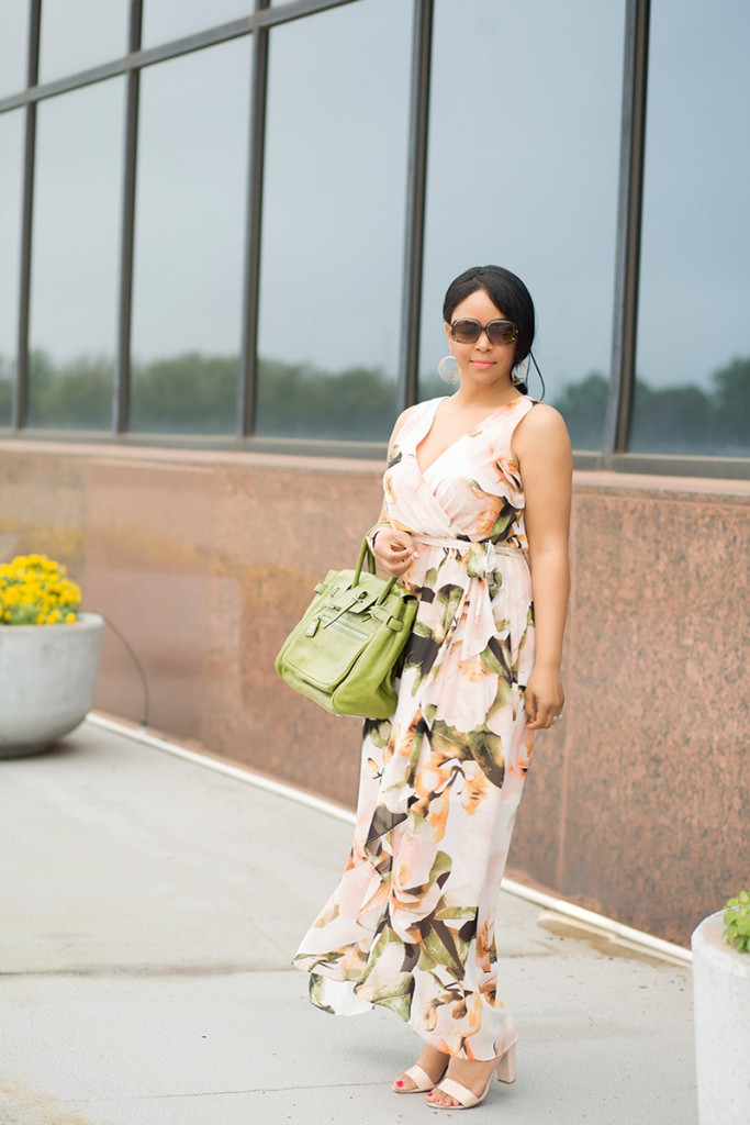 What's Haute / What I'm Wearing: Sangria Chaya Floral Faux-Wrap Maxi Dress, Leonello Borghi Luna Medium Satchel, Gold Women's Cuff Bracelet with Casted Leaf from Target, French Connection Katrin Dress Sandal, outfit of the day, floral dresses